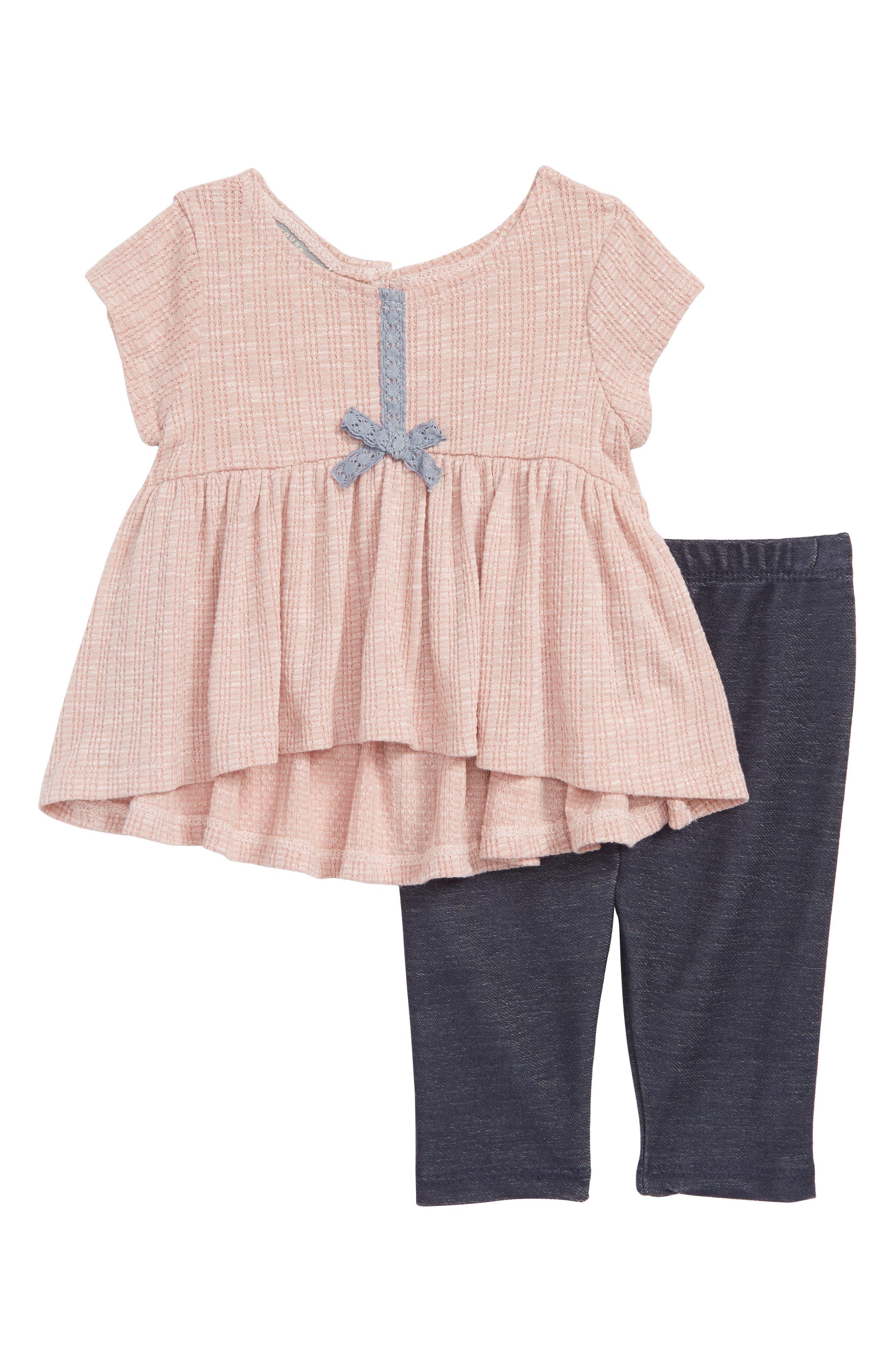 Cap Sleeve High/Low Dress & Leggings Set,                         Main,                         color, 689