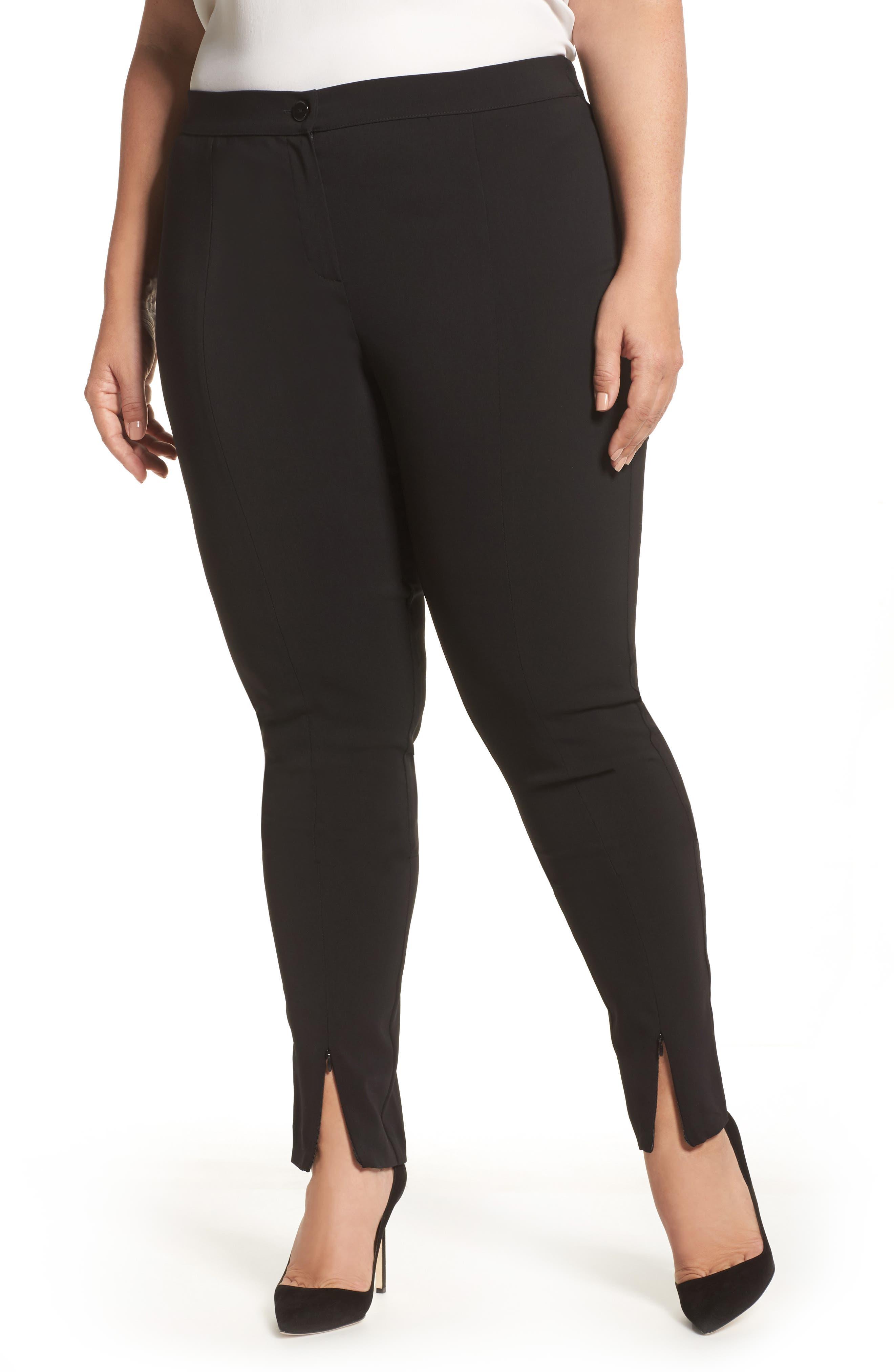 Rita Zip Split Hem Pants, Main, color, 001