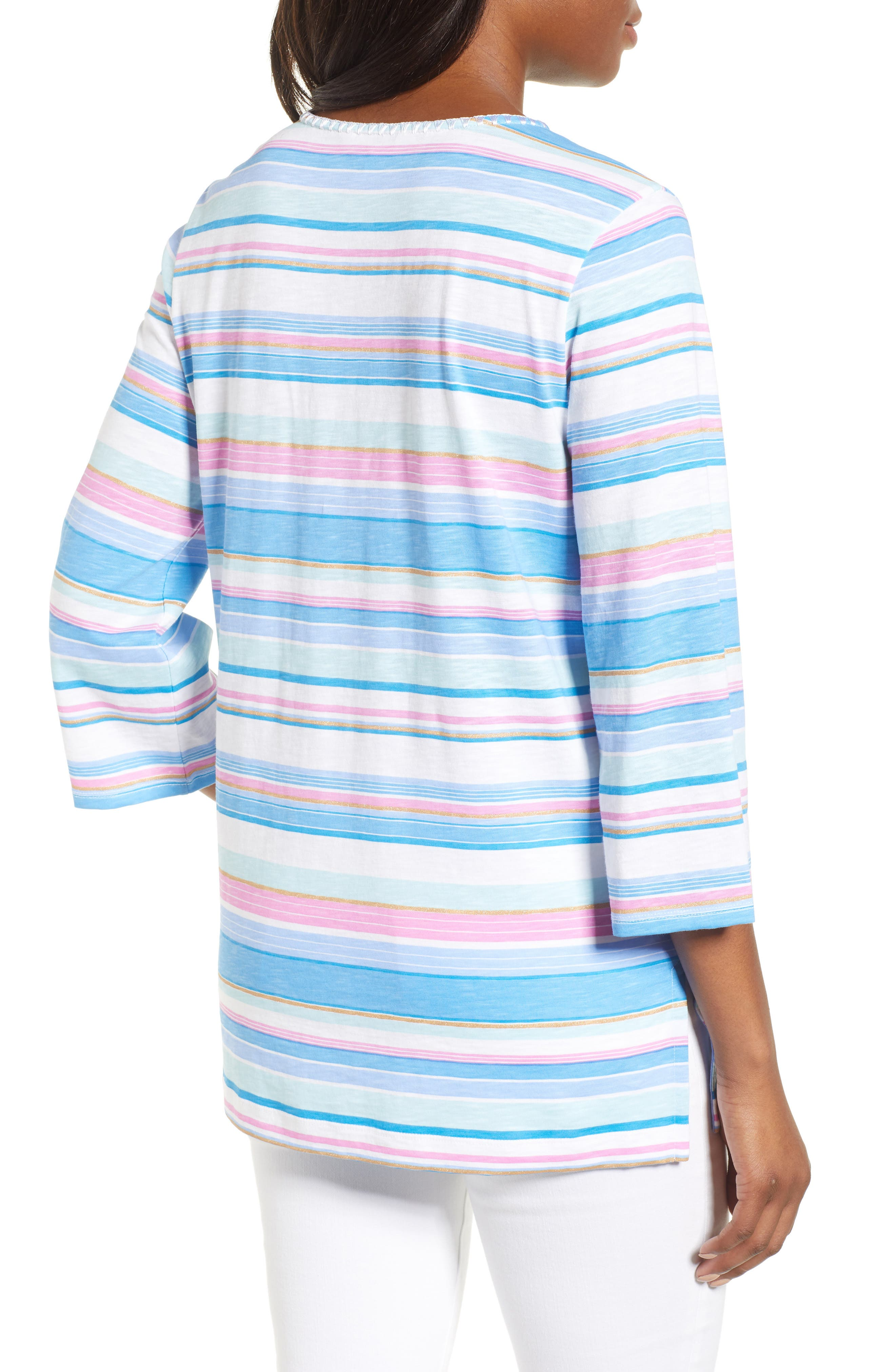 Festival Stripe Bell Sleeve Pima Cotton Top,                             Alternate thumbnail 2, color,                             BLUE ASTER