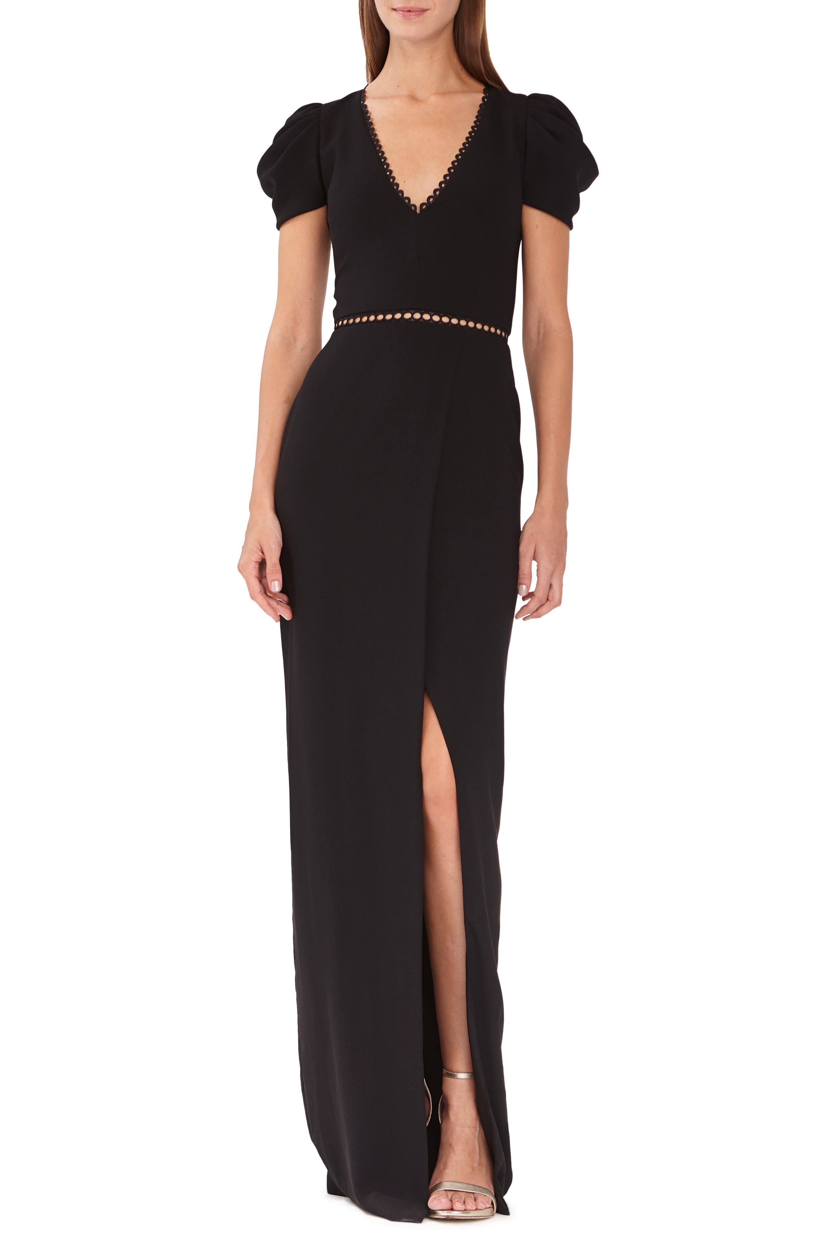 Ml Monique Lhuillier Draped Sleeve Crepe Evening Dress, Black