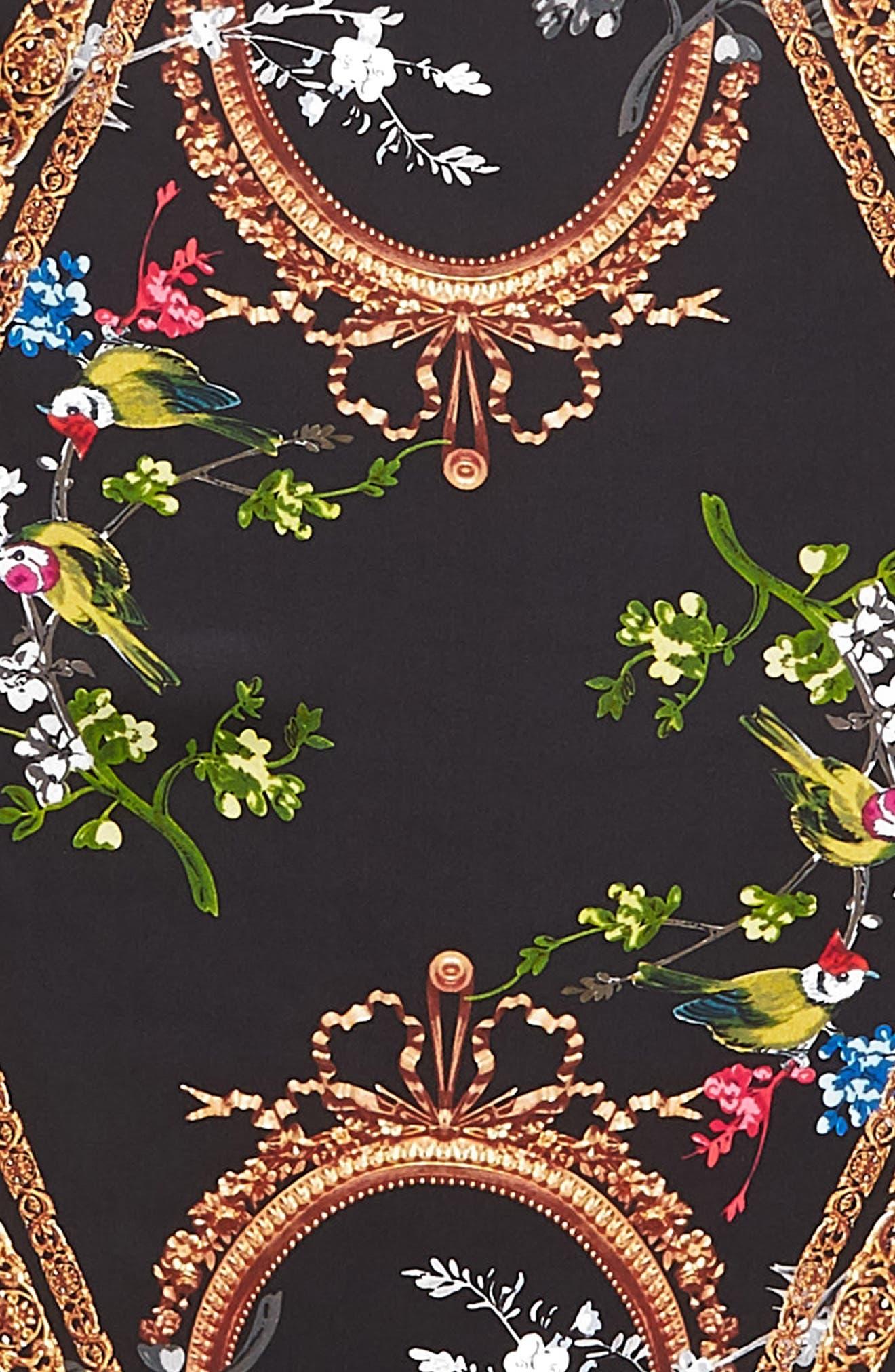 Opulent Fauna Kite Silk Scarf,                             Alternate thumbnail 4, color,                             BLACK