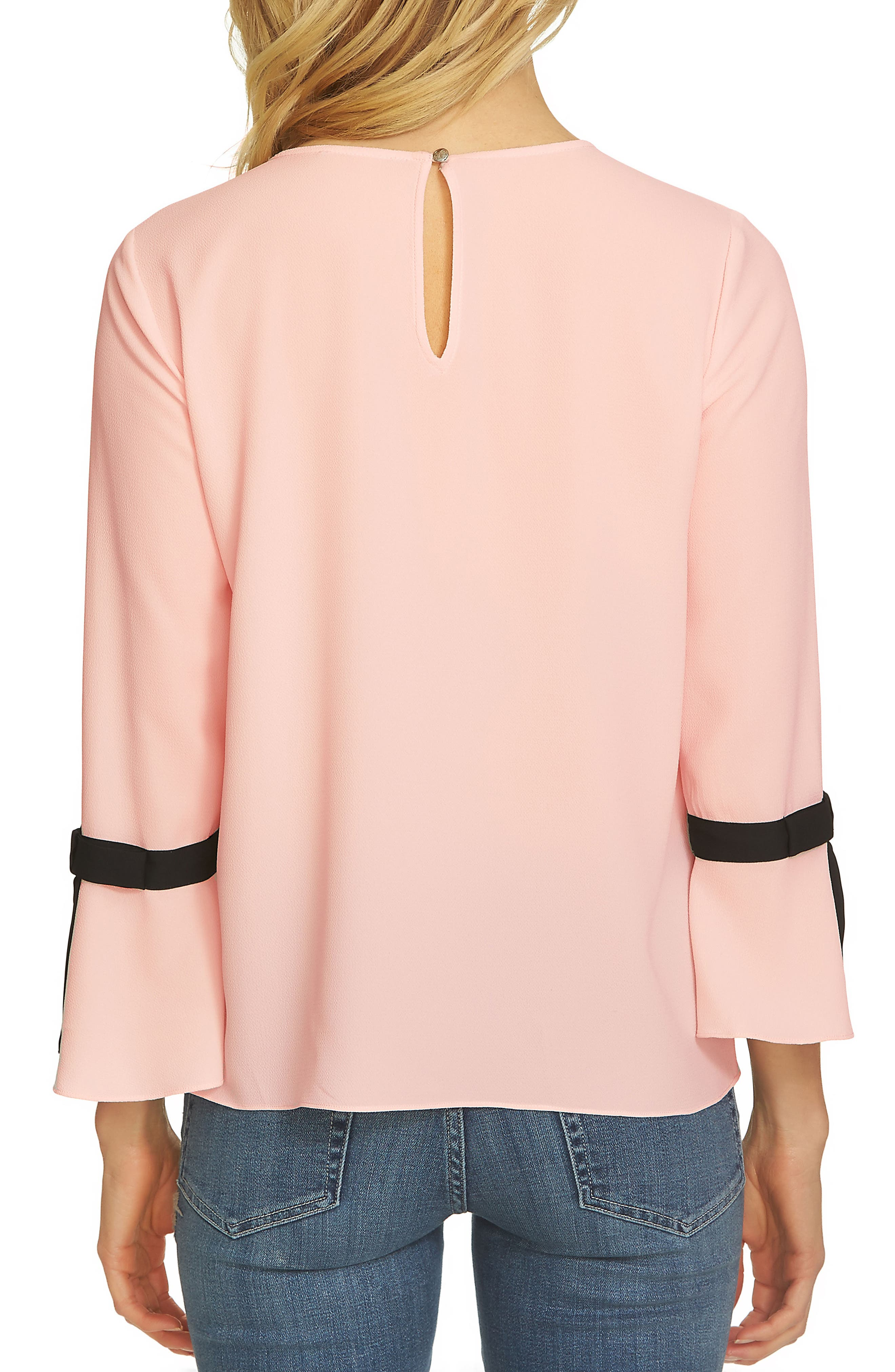 Tie Bell Sleeve Blouse,                             Alternate thumbnail 4, color,