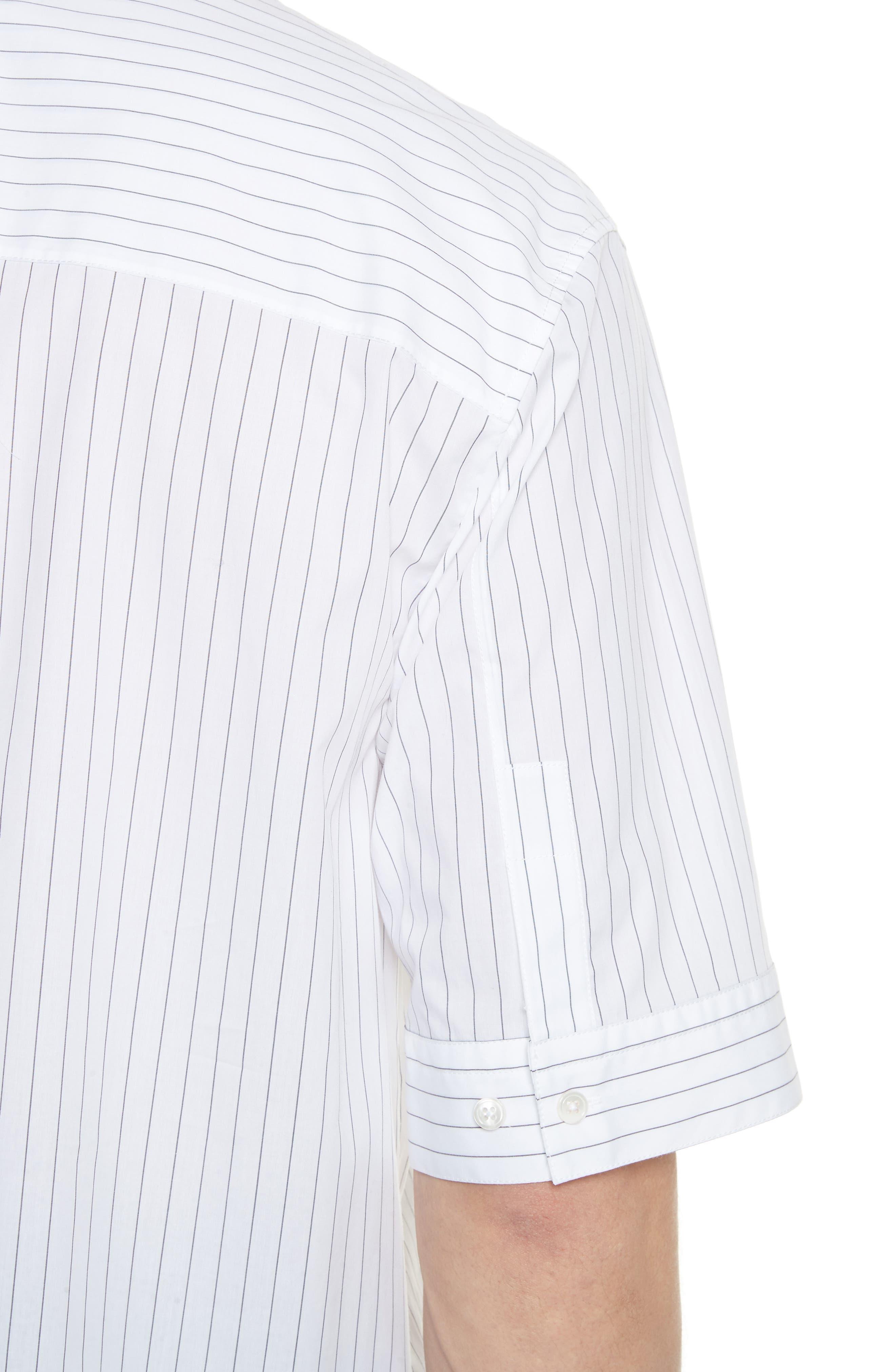 Elongated Placket Stripe Woven Shirt,                             Alternate thumbnail 4, color,