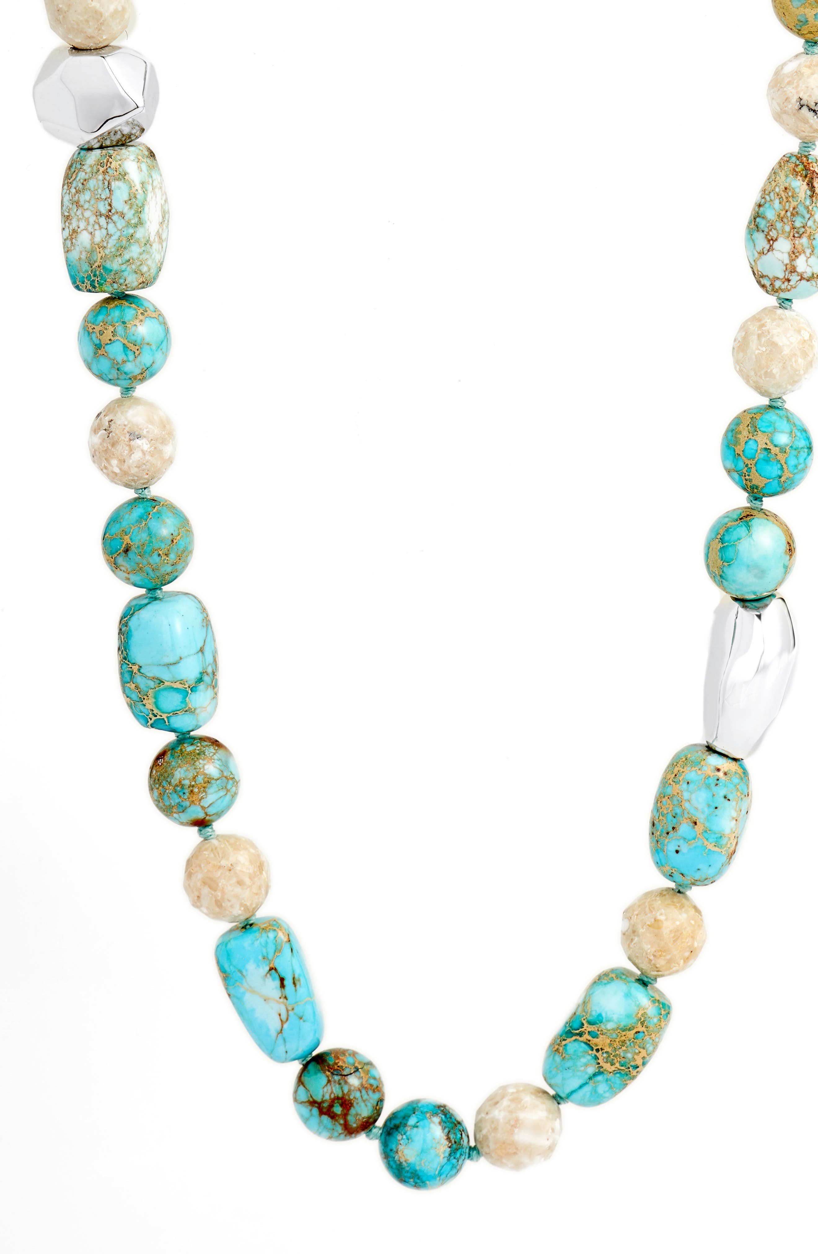 Silver Accent Jasper Beaded Necklace,                             Alternate thumbnail 2, color,                             BLUE/ BEIGE/ SILVER