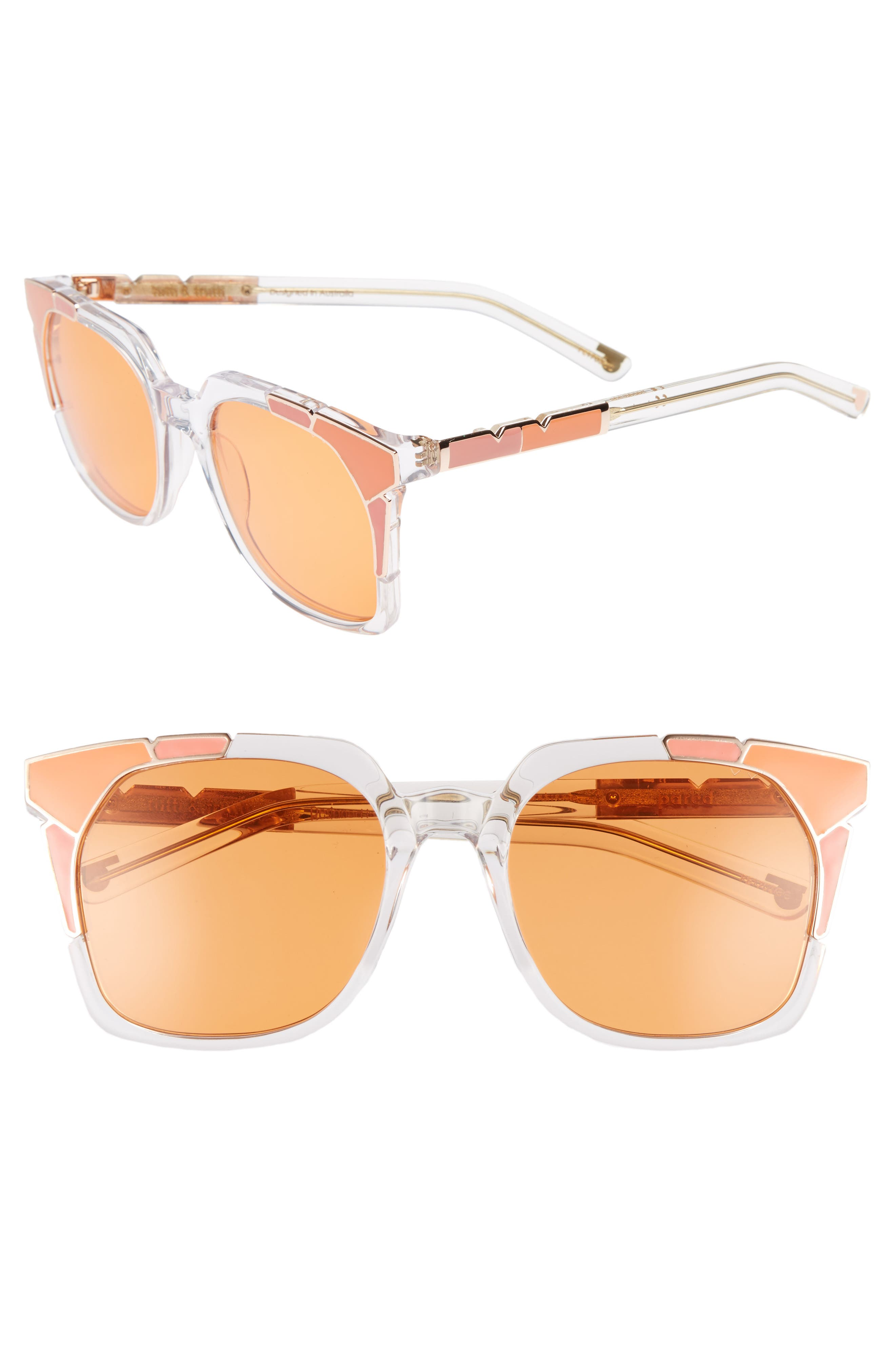 Tutti & Frutti 55mm Sunglasses,                             Main thumbnail 1, color,                             SALMON ORANGE/ ROSE GOLD