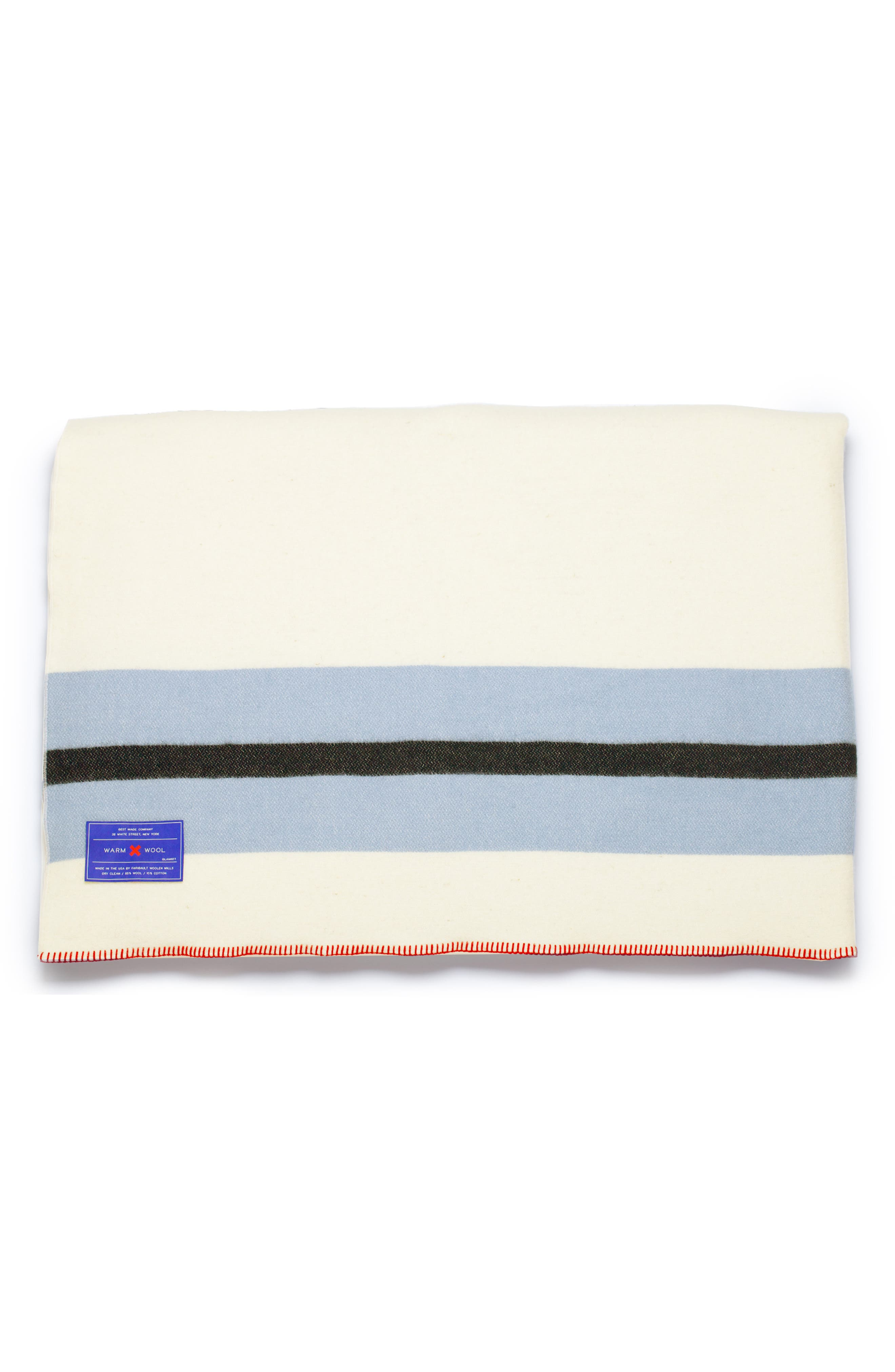The Warm Wool Blend Blanket,                             Alternate thumbnail 5, color,                             WHITE/ BLUE/ RED