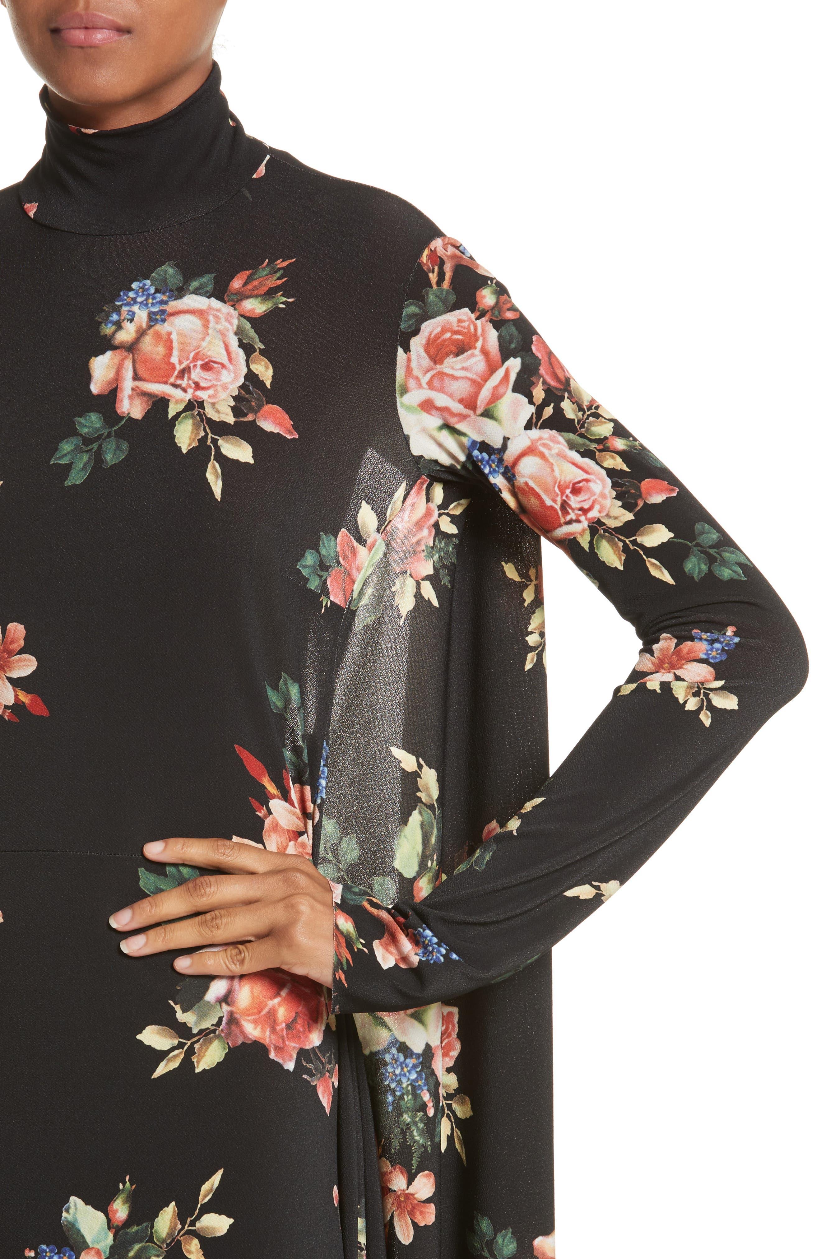 Drape Panel Floral Dress,                             Alternate thumbnail 4, color,