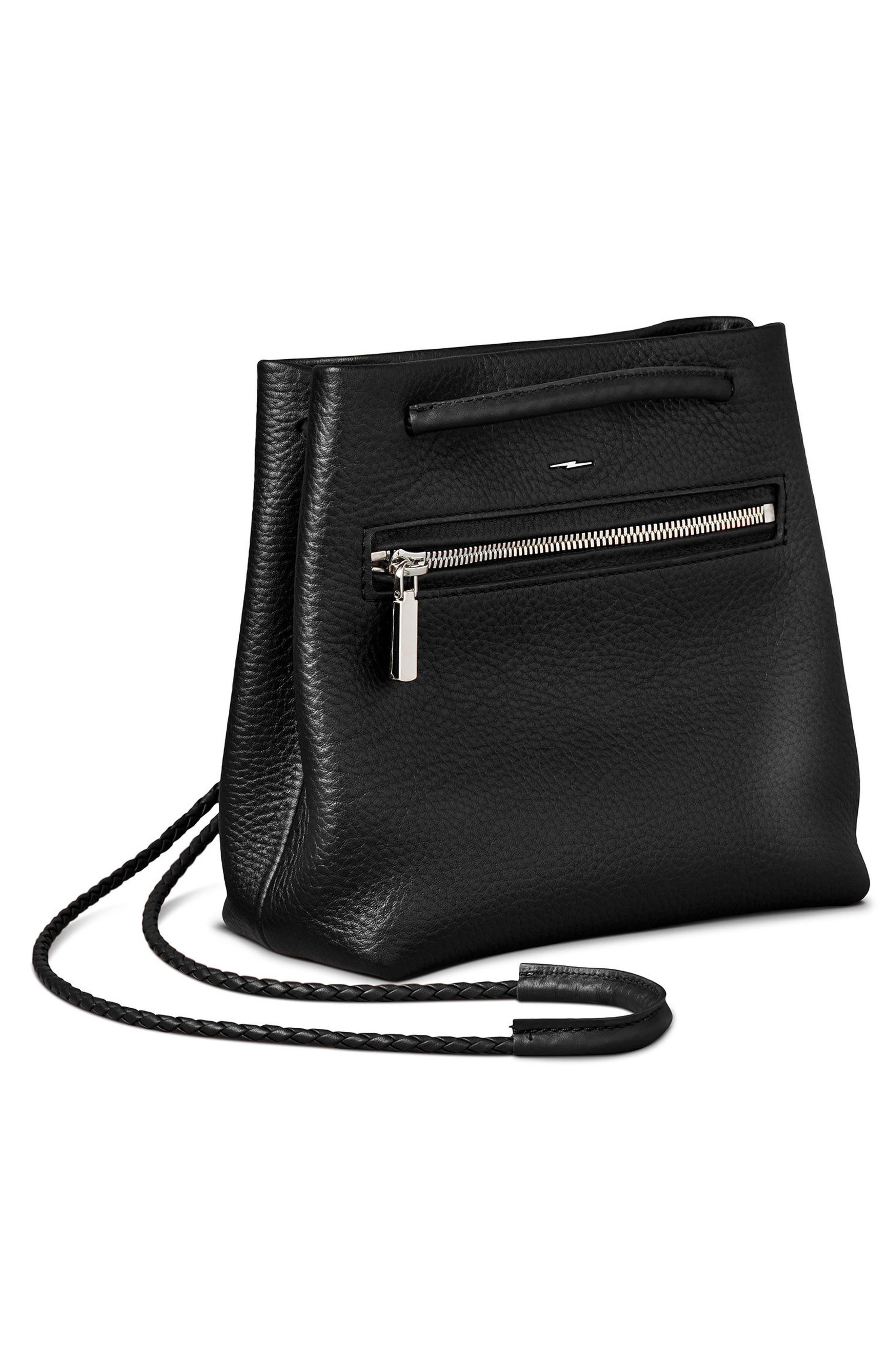Mini Pebbled Leather Drawstring Crossbody Bag,                             Alternate thumbnail 7, color,                             001