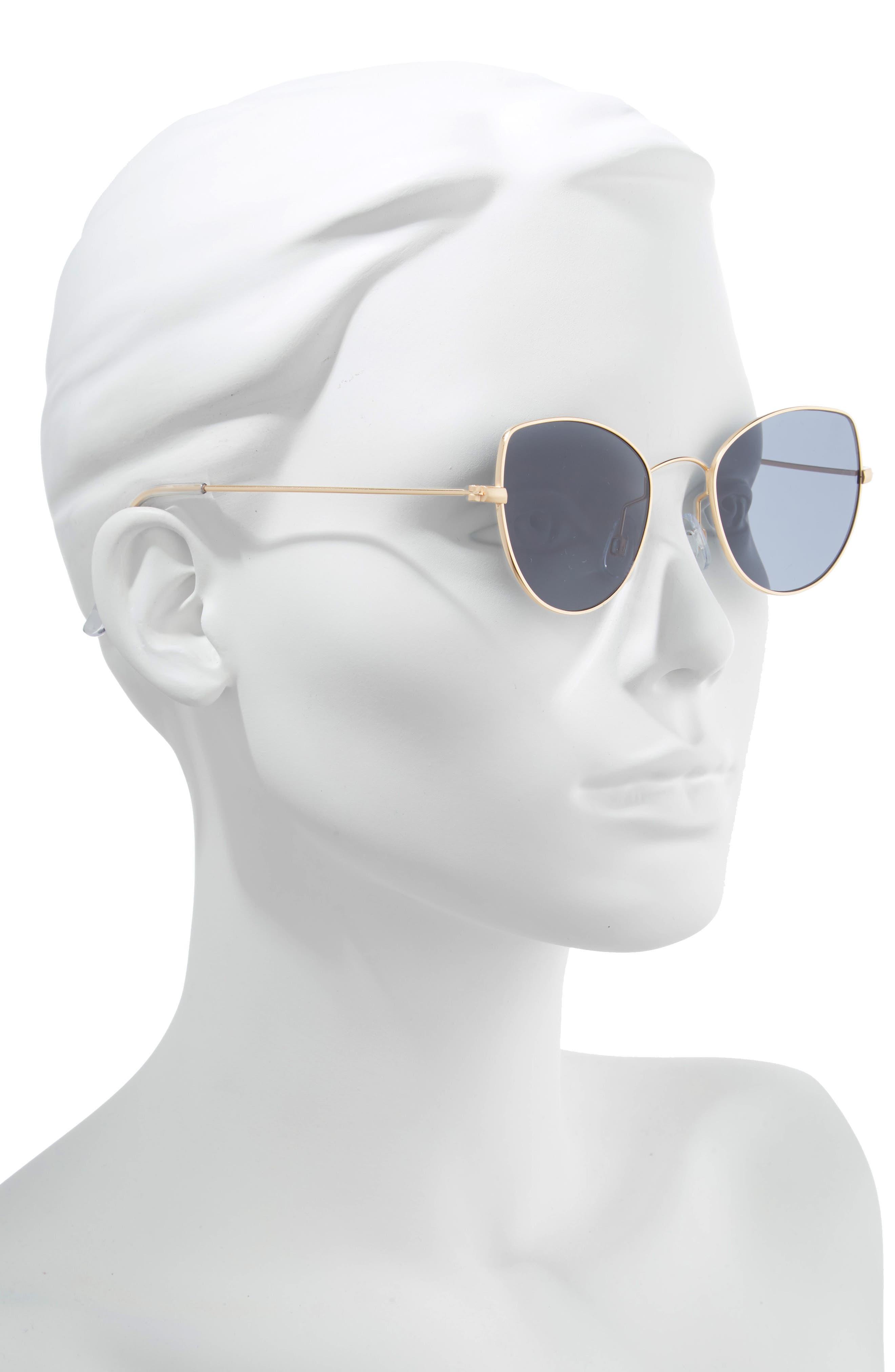 48mm Cat Eye Sunglasses,                             Alternate thumbnail 2, color,                             BLACK/ GOLD