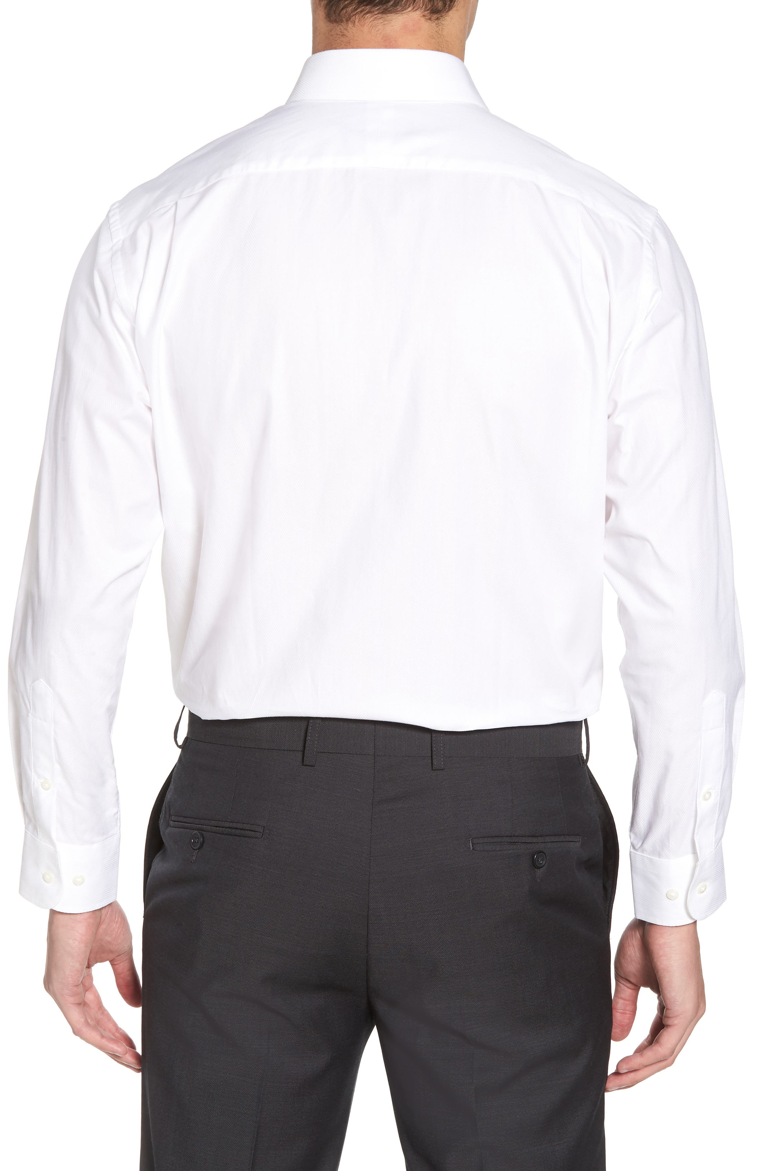 Traditional Fit Herringbone Dress Shirt,                             Alternate thumbnail 3, color,                             WHITE
