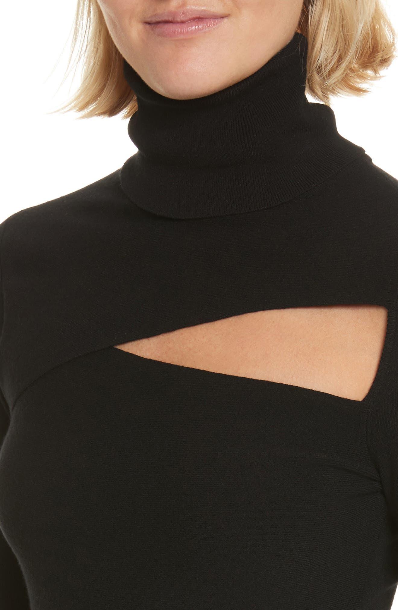 Camden Cutout Turtleneck Sweater,                             Alternate thumbnail 4, color,                             001