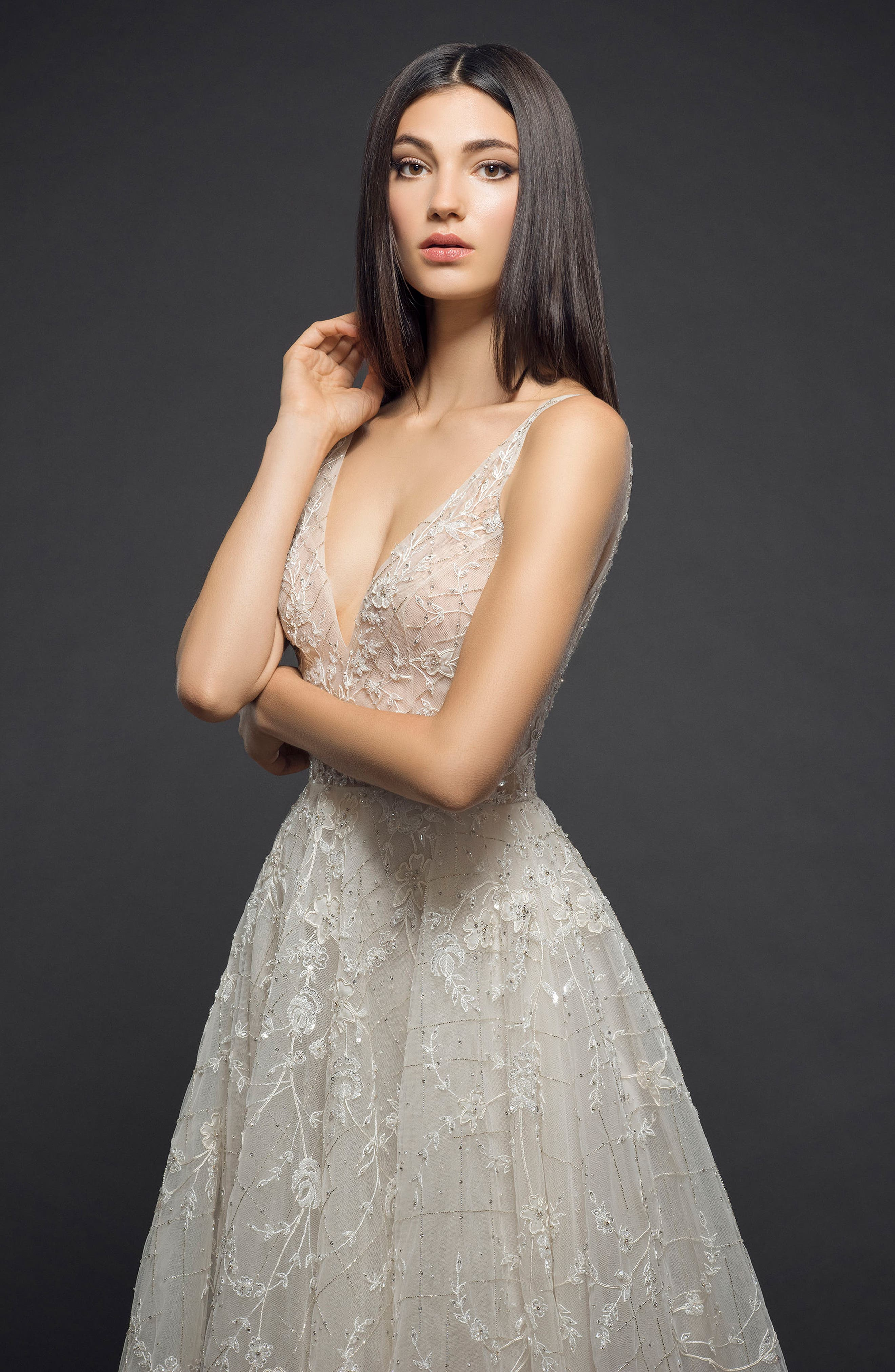 Embellished Organza Gown,                             Alternate thumbnail 3, color,                             CHAMPAGNE NUDE