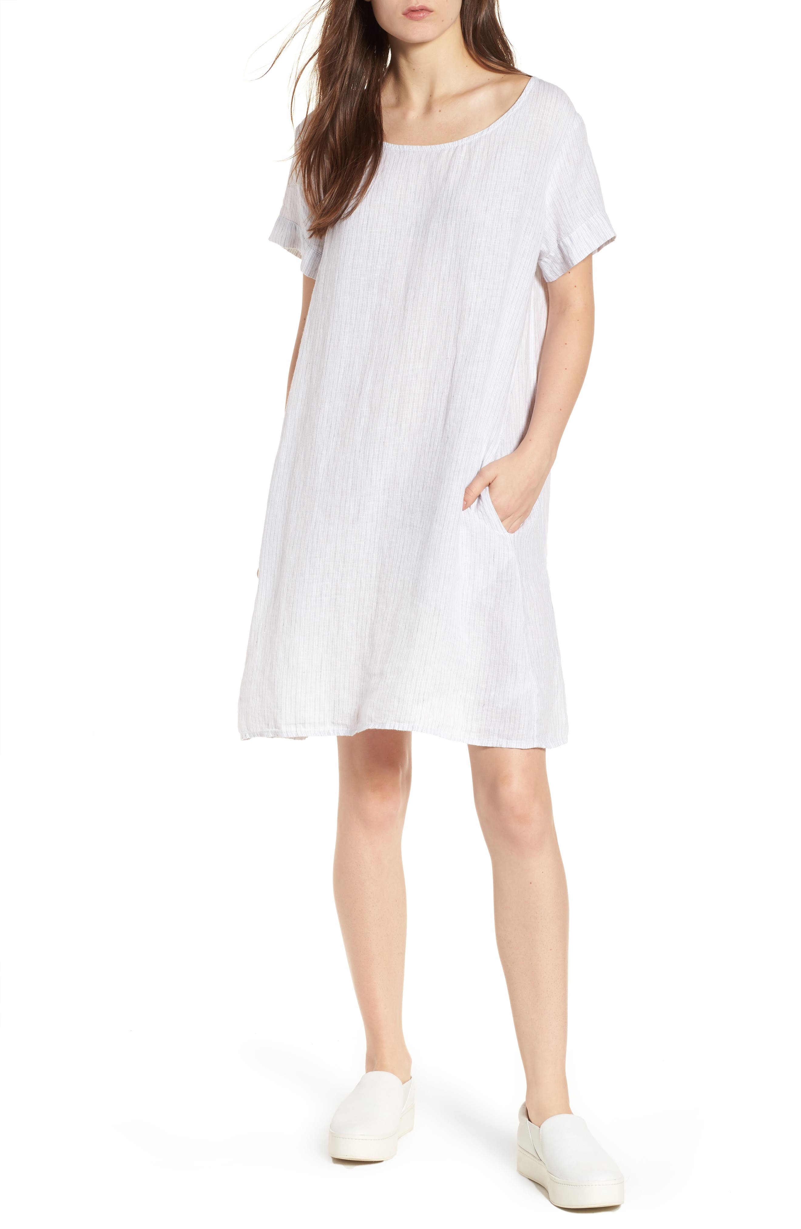 Stripe Linen Dress,                         Main,                         color, 053