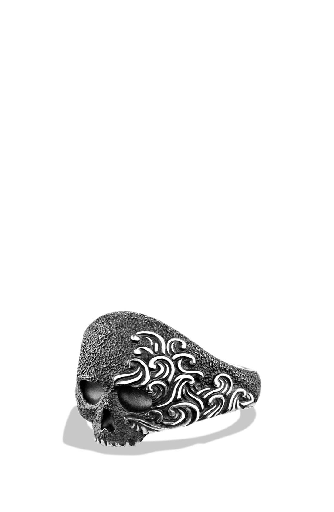 'Waves' Small Skull Ring, Main, color, 040