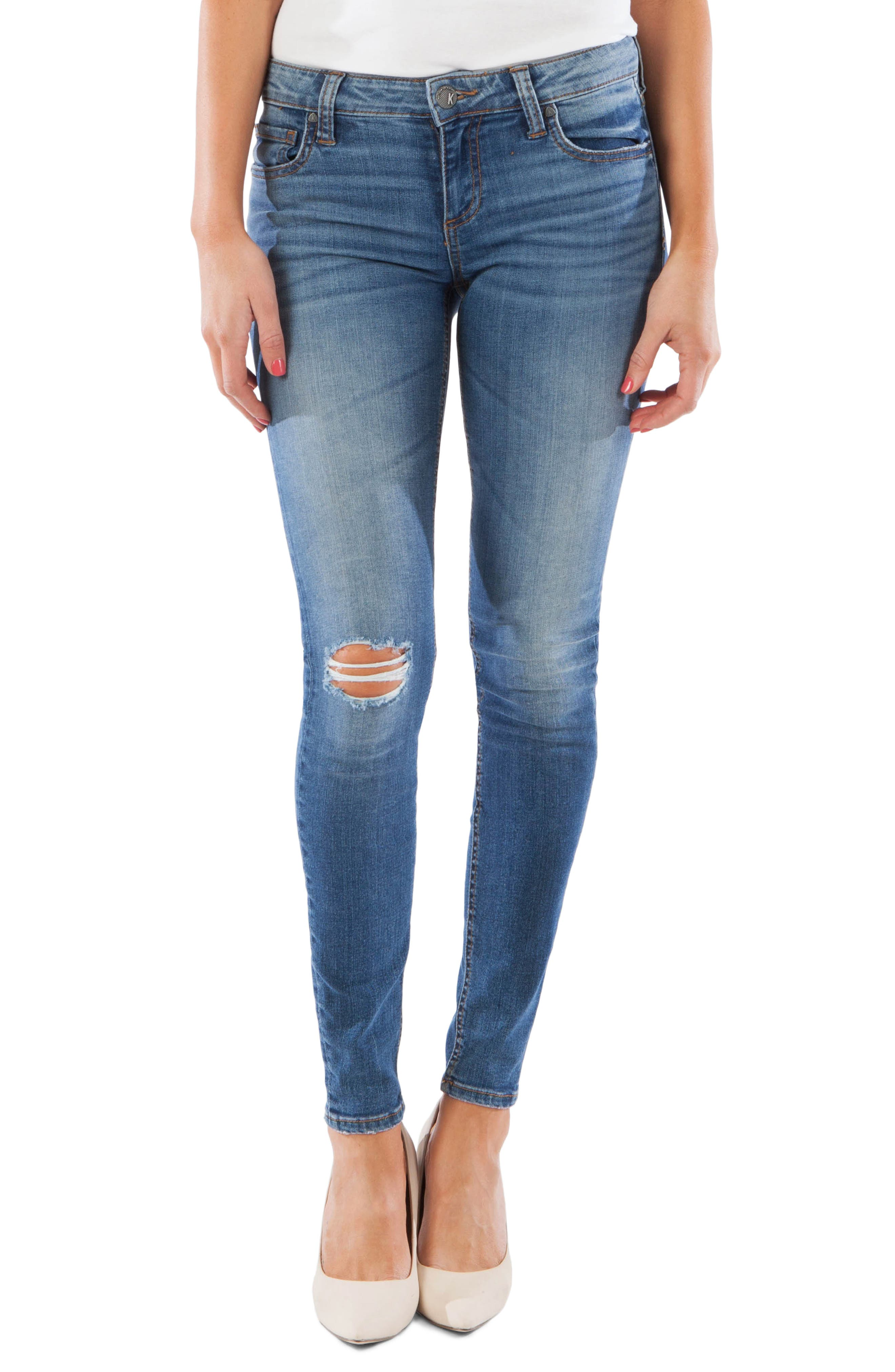 Kut From The Kloth Mia Ripped Toothpick Skinny Jeans, Blue