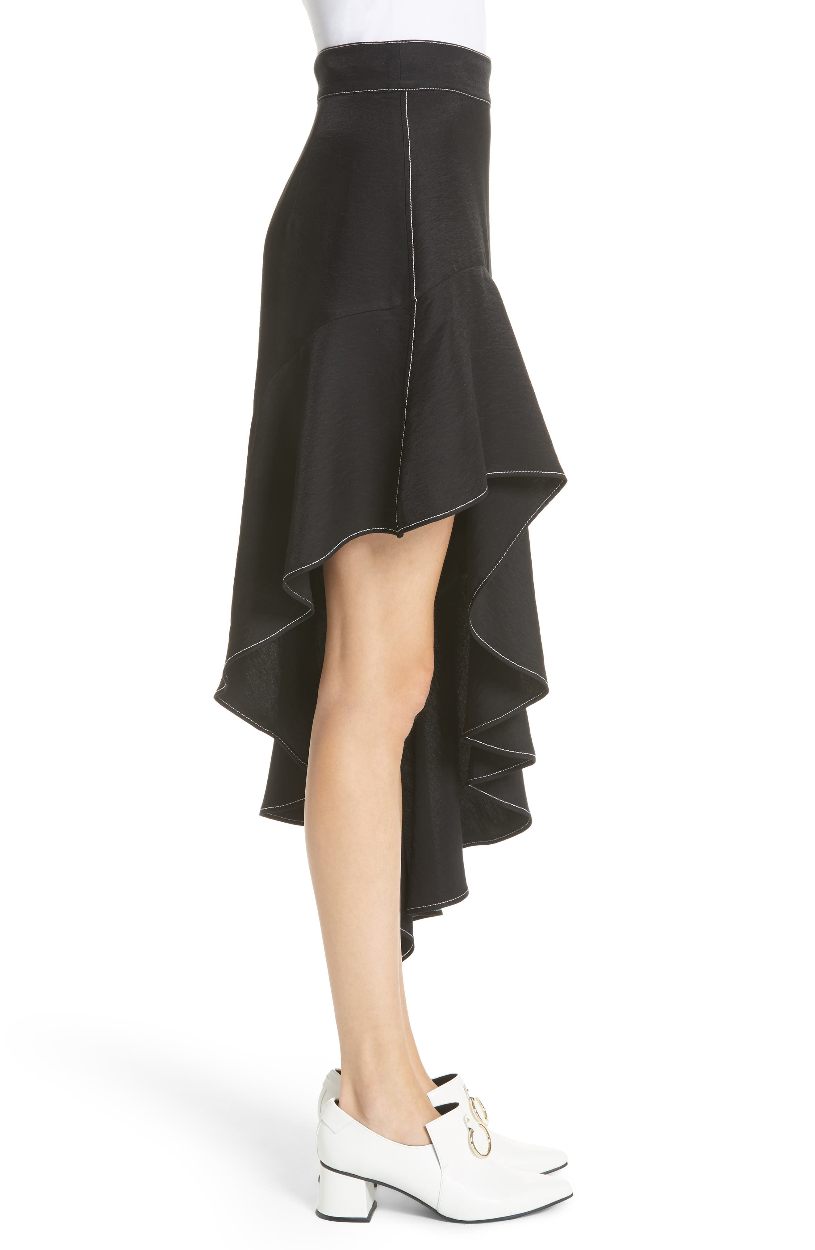 Ella Asymmetrical Ruffle Skirt,                             Alternate thumbnail 3, color,                             001
