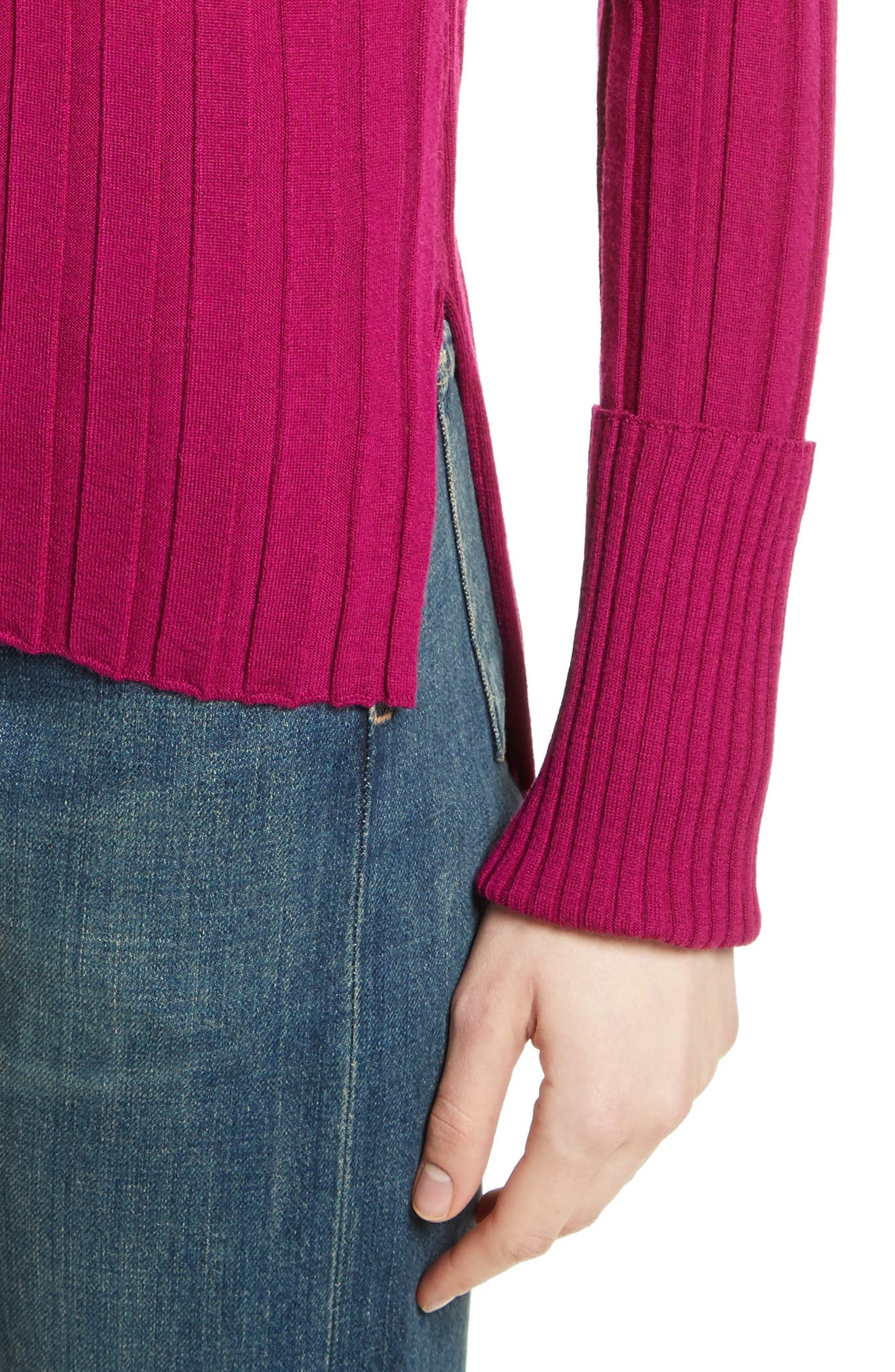 Wide Ribbed Mock Neck Wool Sweater,                             Alternate thumbnail 19, color,