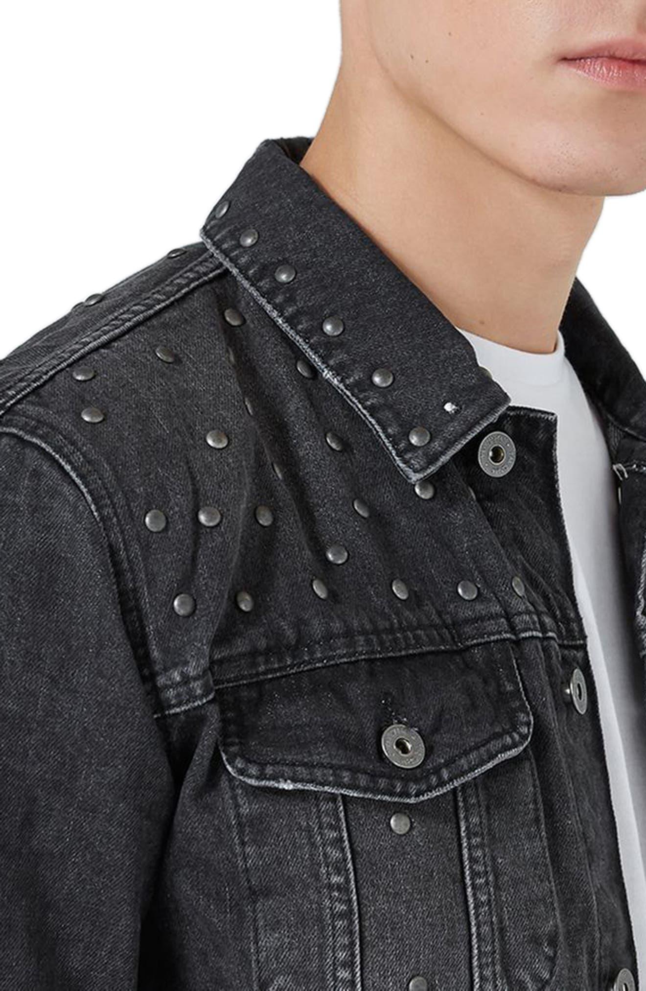 Studded Denim Jacket,                             Alternate thumbnail 3, color,