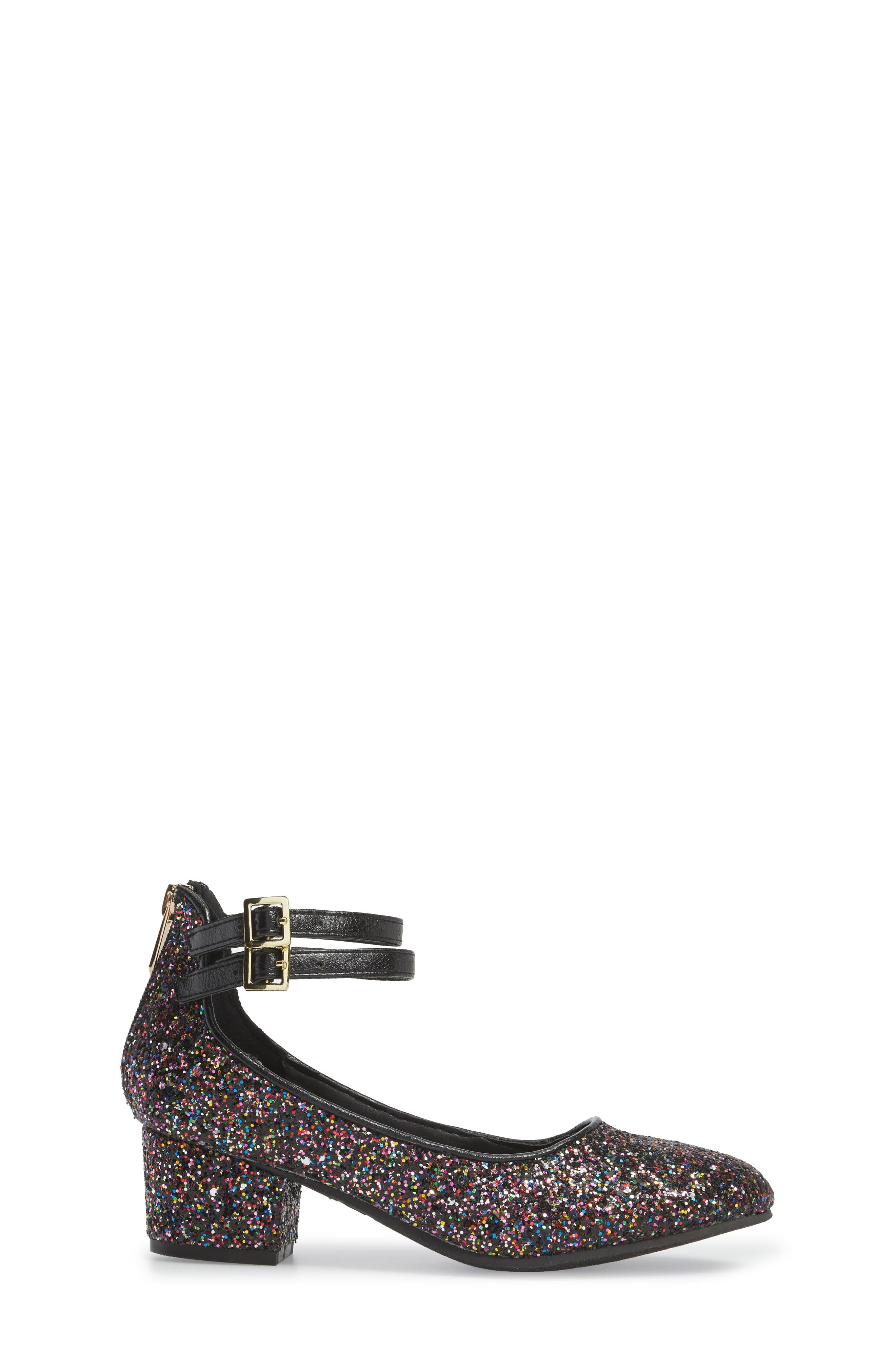 Evelyn Bree Ankle Strap Glitter Pump,                             Alternate thumbnail 3, color,                             001