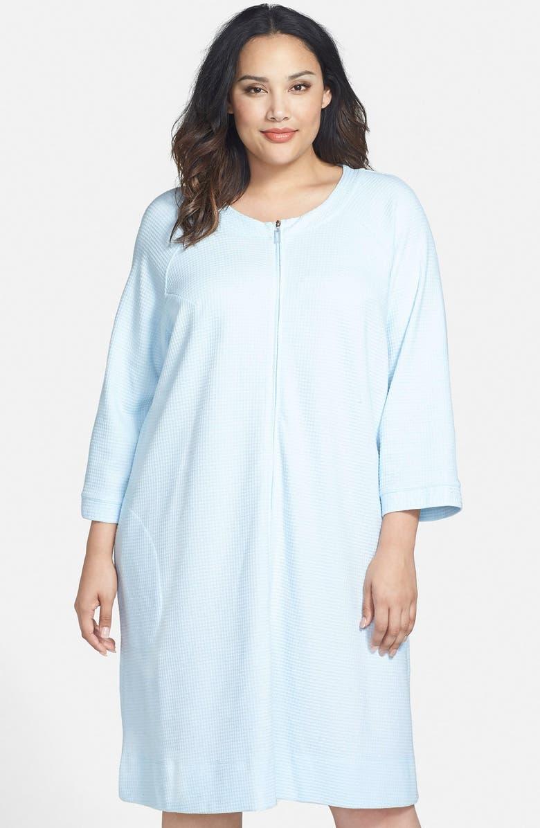 2fe86e35fe Carole Hochman Designs Zip Front Waffle Knit Robe (Plus Size ...
