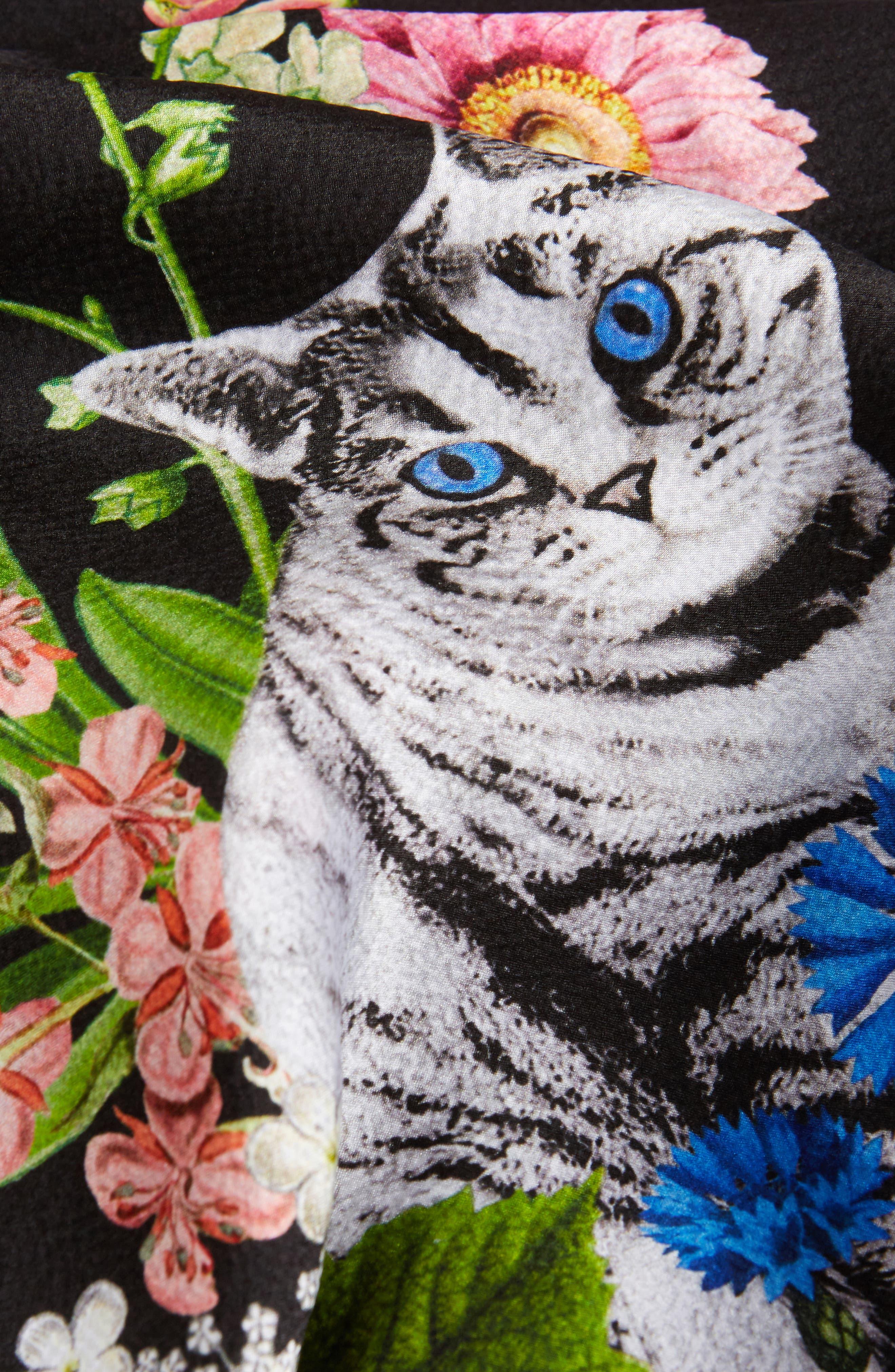 Florence Silk Cape Scarf,                             Alternate thumbnail 3, color,                             001