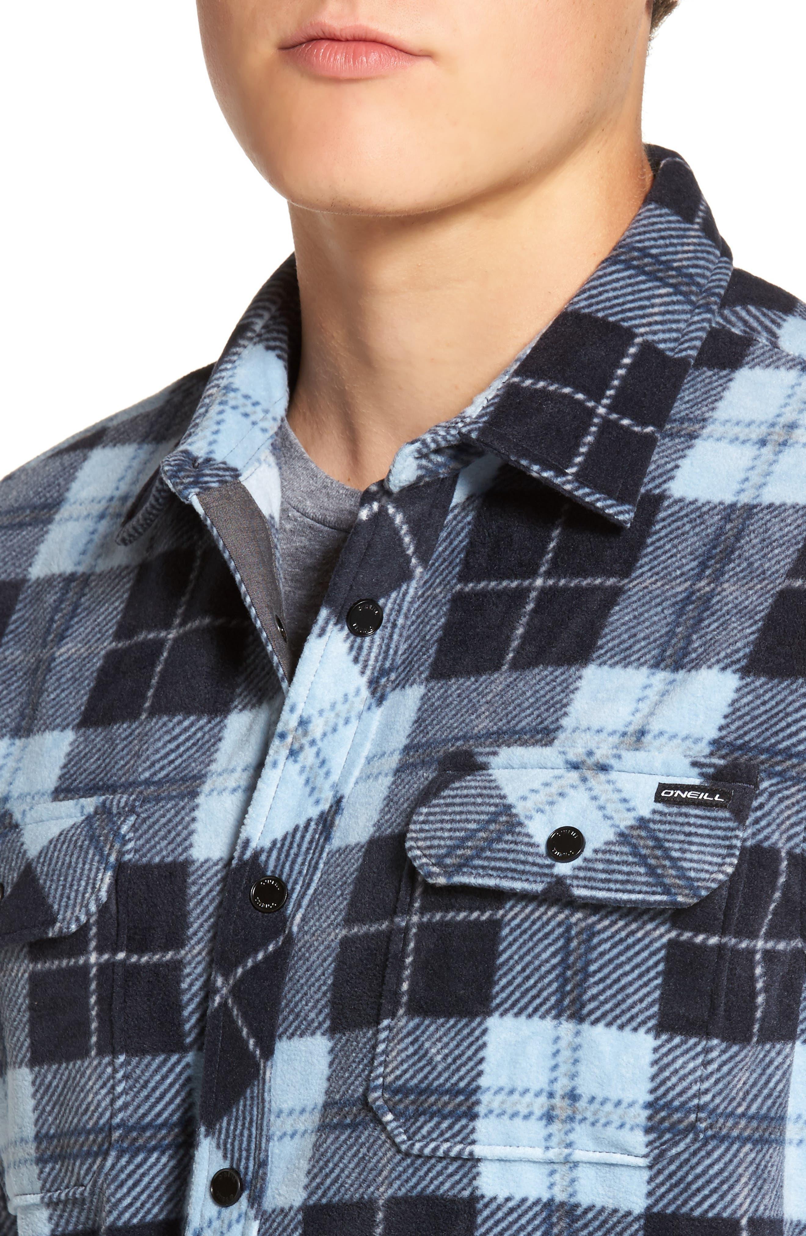 Glacier Plaid Fleece Flannel Shirt,                             Alternate thumbnail 20, color,
