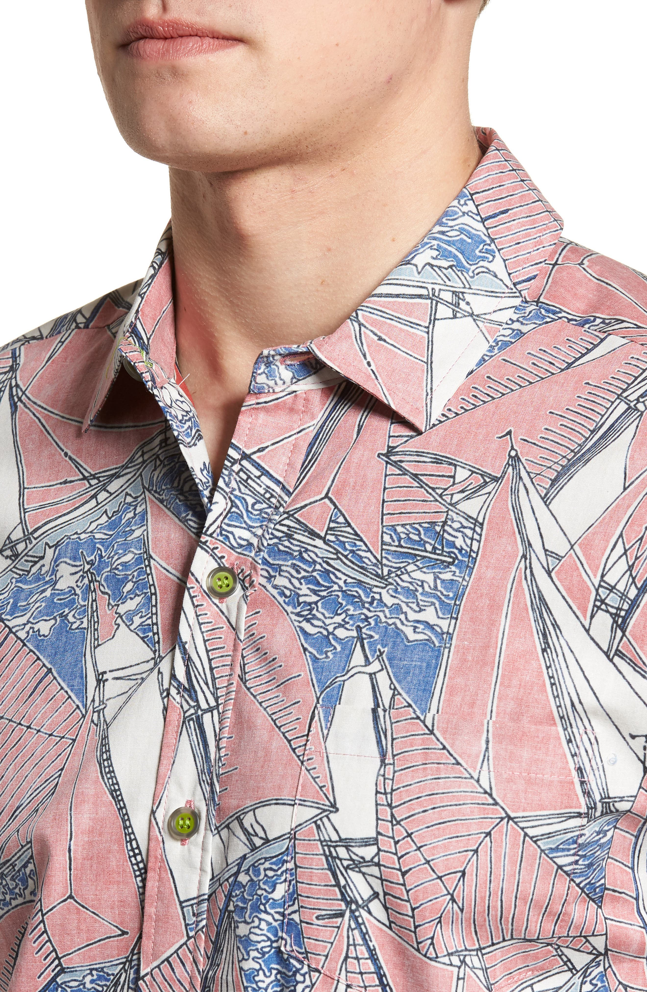 Broad Reach Trim Fit Camp Shirt,                             Alternate thumbnail 4, color,                             605