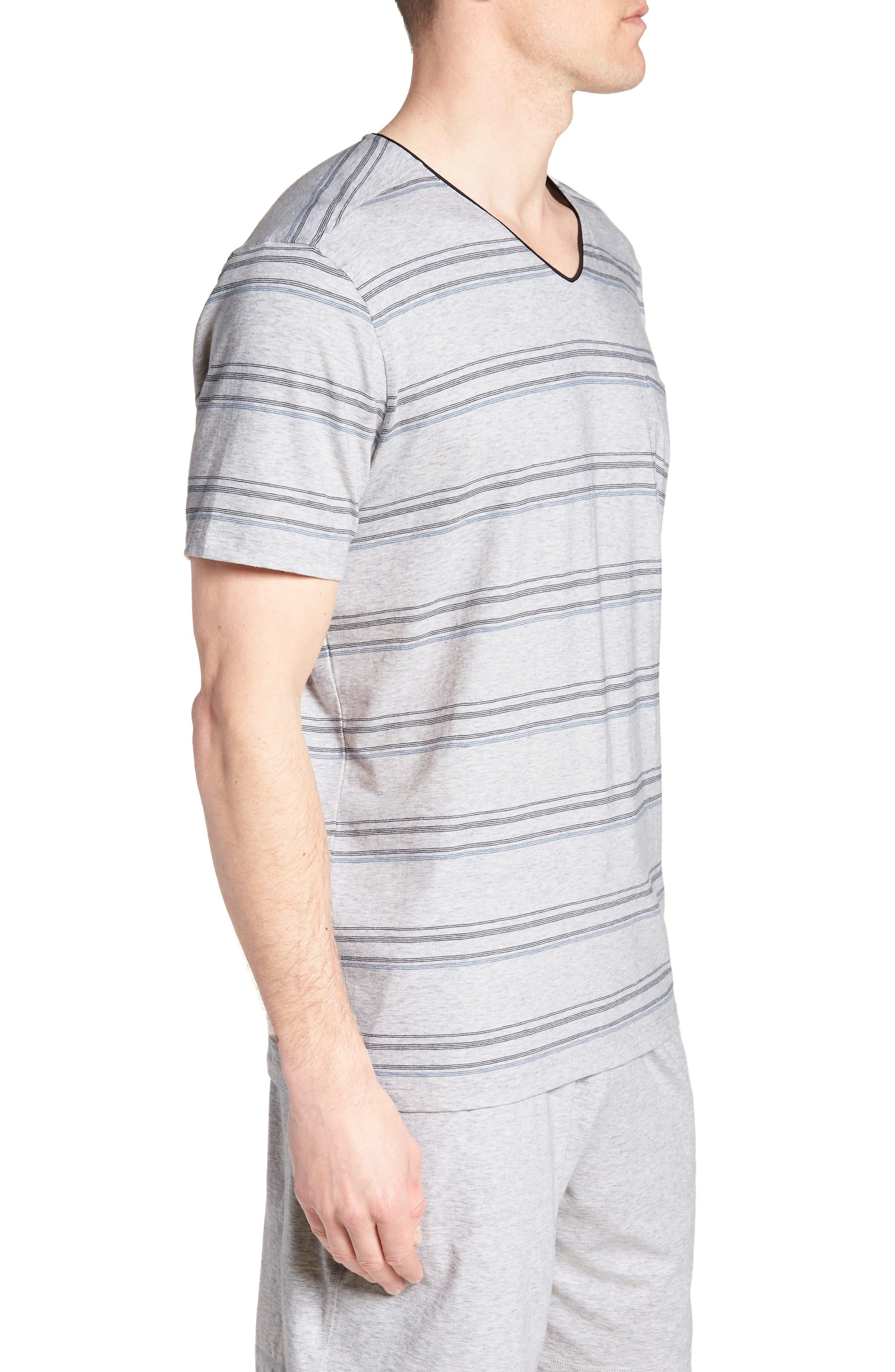 Stripe Pima Cotton & Modal V-Neck T-Shirt,                             Alternate thumbnail 3, color,                             BLACK/ BLUE