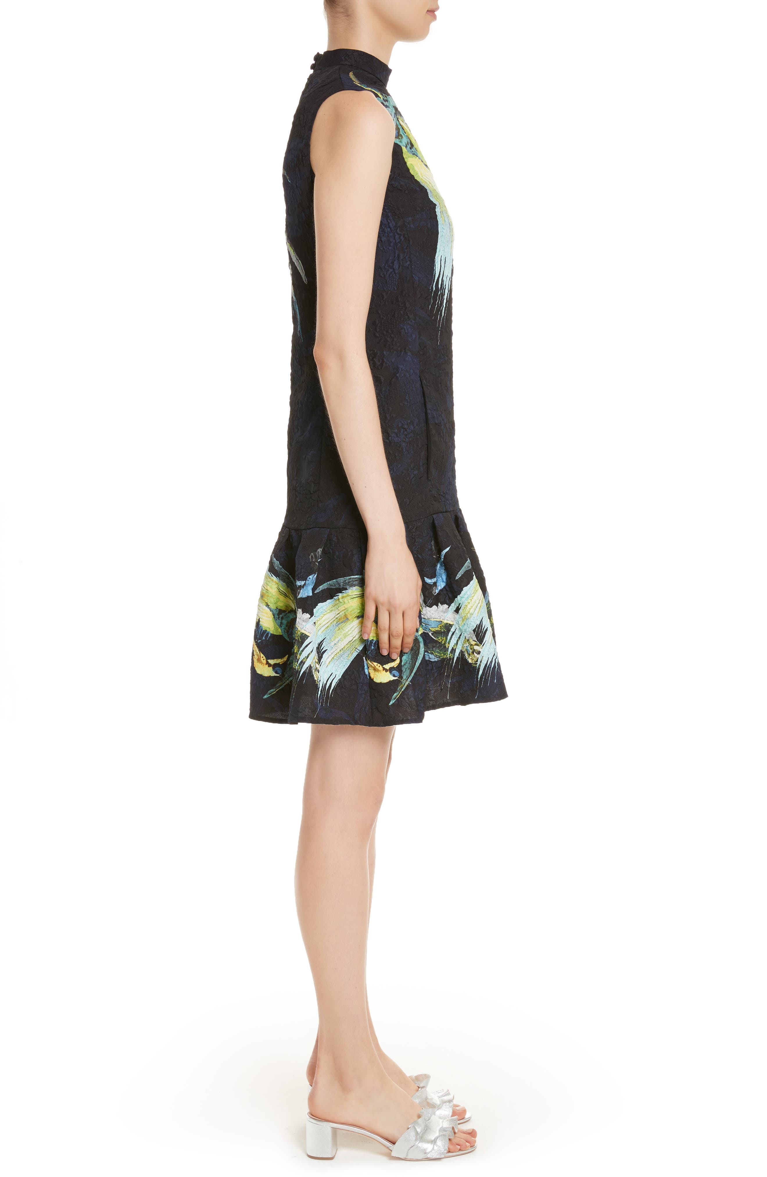 Brocade Drop Waist Ruffle Hem Dress,                             Alternate thumbnail 3, color,                             001