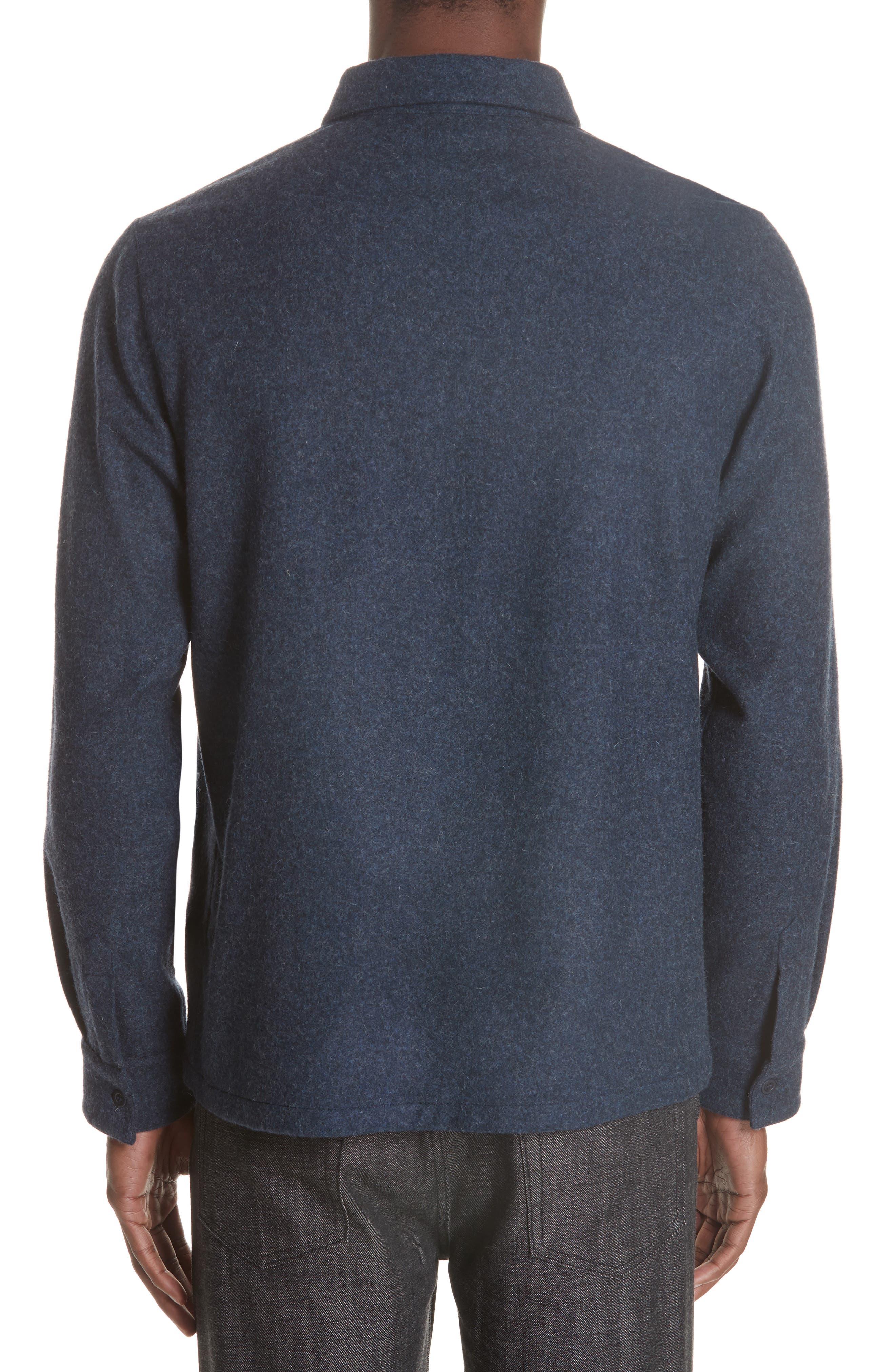 Surchemise Joe Wool Shirt,                             Alternate thumbnail 3, color,                             MARINE CHINE PIA