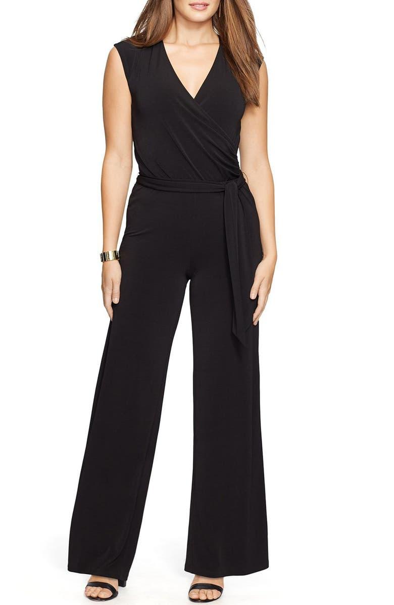 f6076207a96 Lauren Ralph Lauren Surplice Jersey Wide Leg Jumpsuit (Plus Size ...