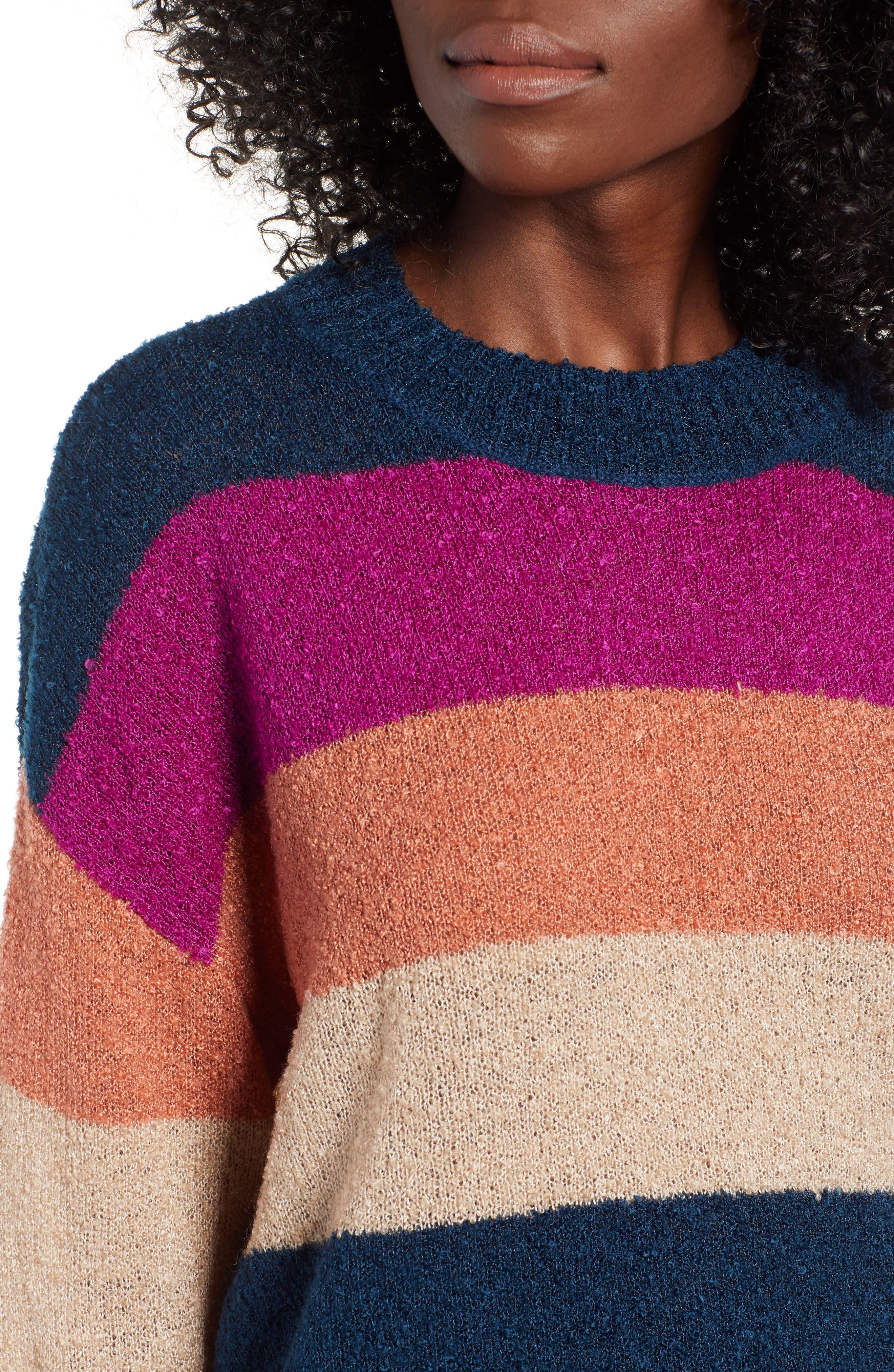 BP.,                             Stripe Bouclé Sweater,                             Alternate thumbnail 4, color,                             420