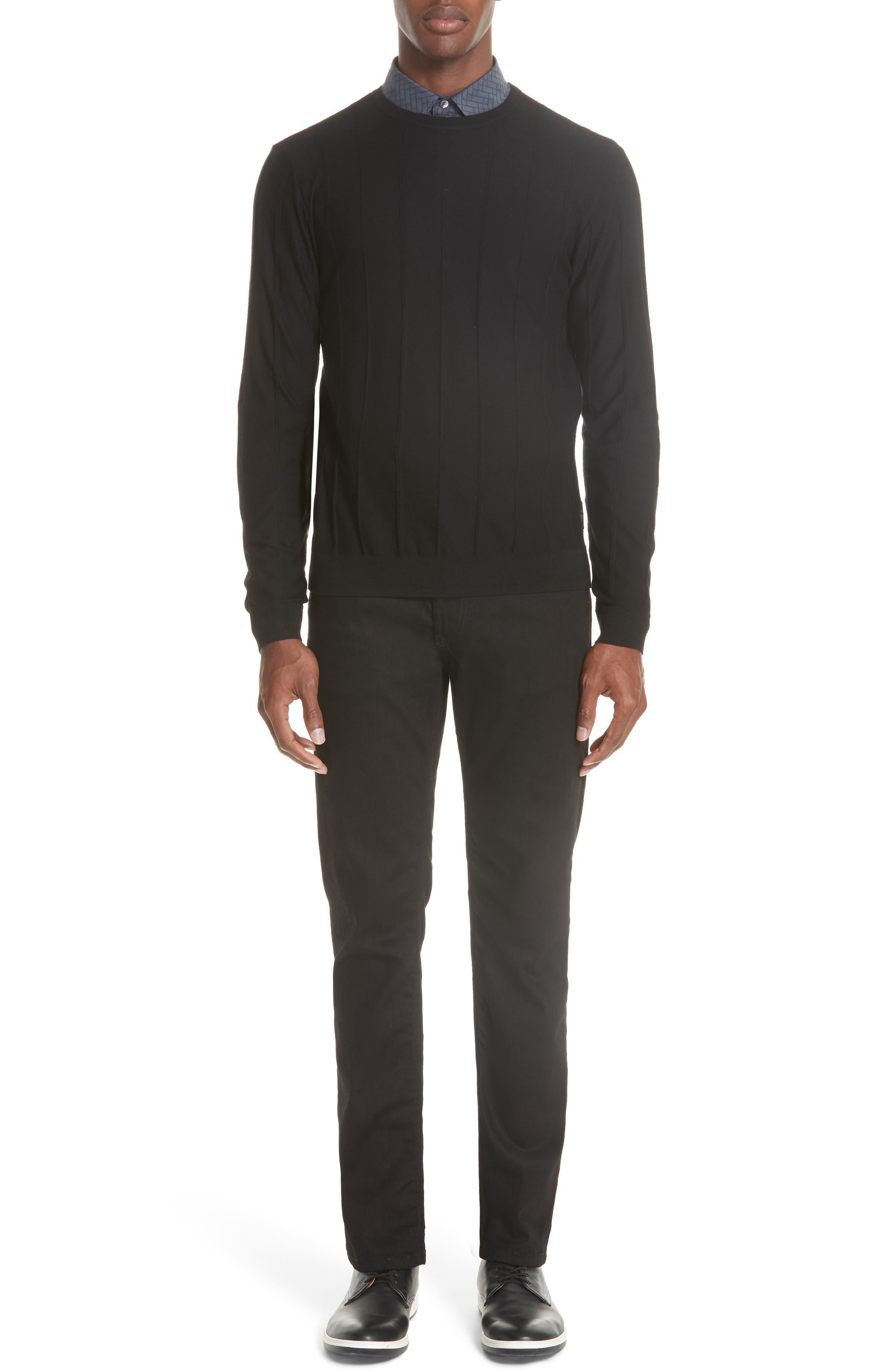Crewneck Wool Sweater,                             Alternate thumbnail 7, color,                             BLACK