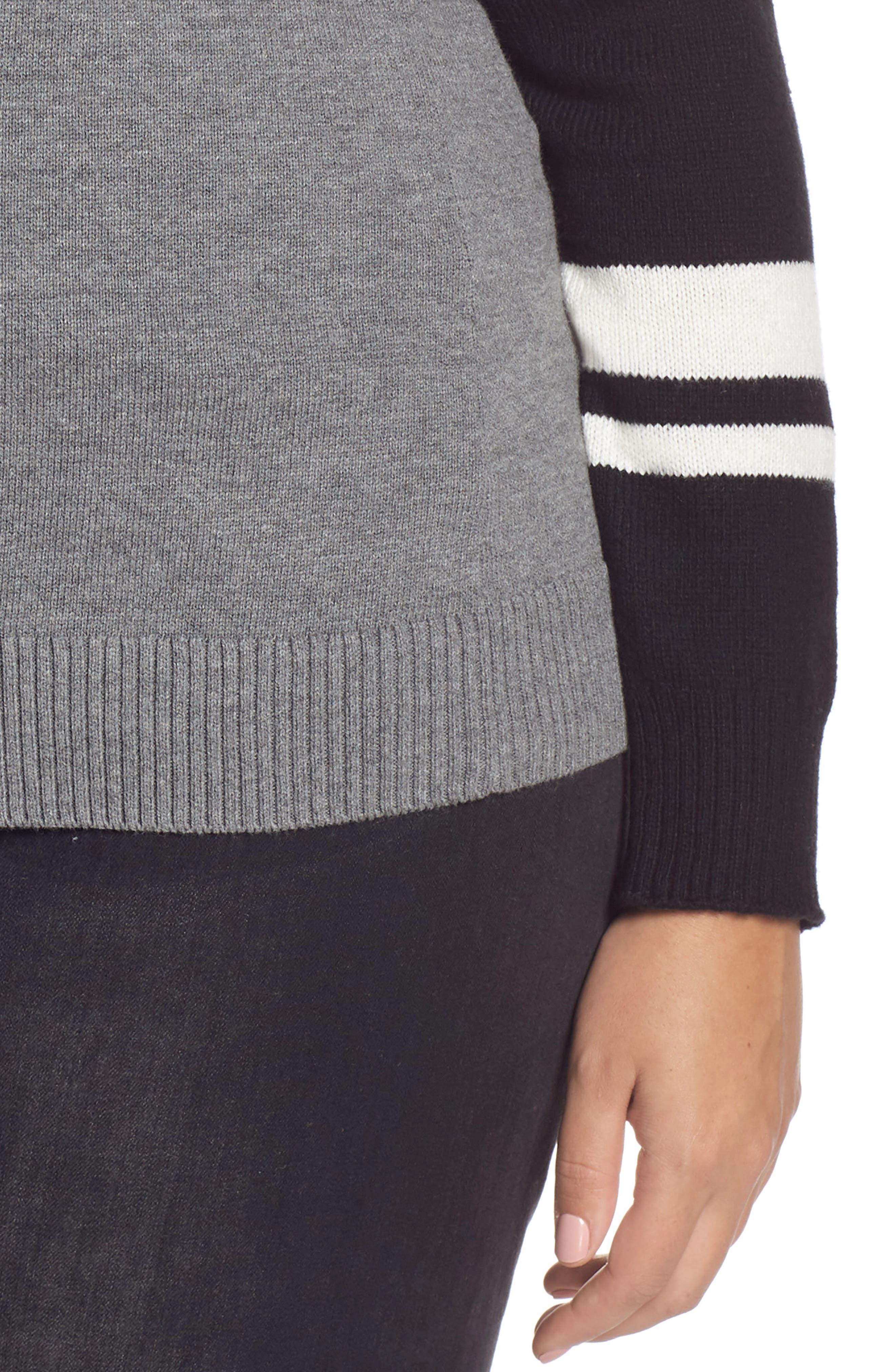 Stripe V-Neck Sweater,                             Alternate thumbnail 10, color,                             GREY HEATHER COMBO