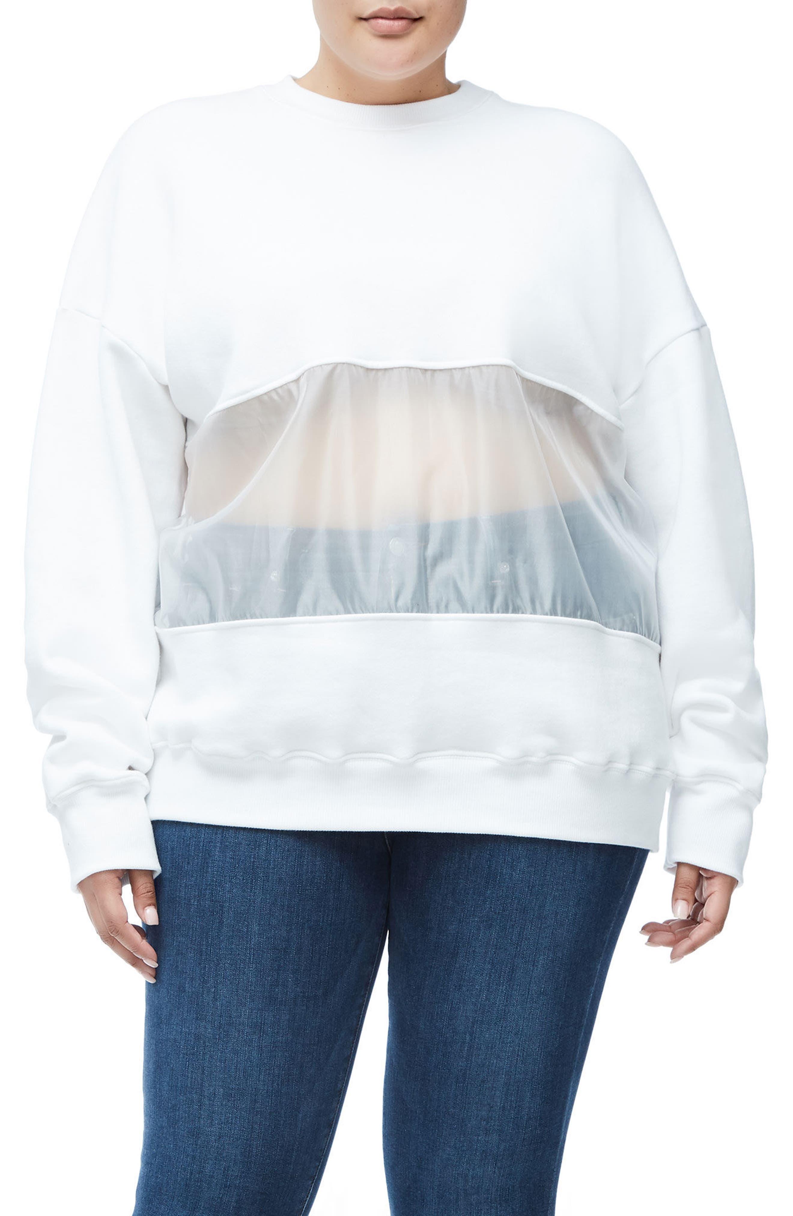 Mixed Media Oversize Sweatshirt,                             Alternate thumbnail 8, color,