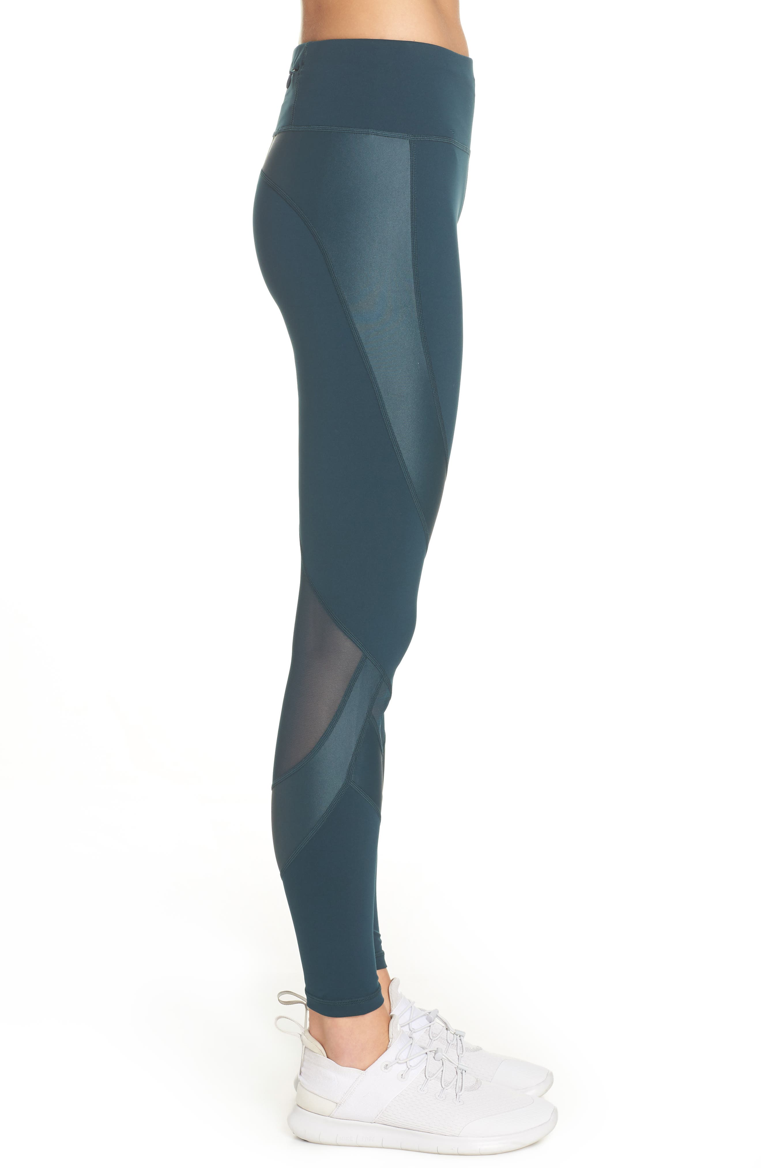 Power Wetlook Mesh Workout Leggings,                             Alternate thumbnail 3, color,                             MIDNIGHT TEAL