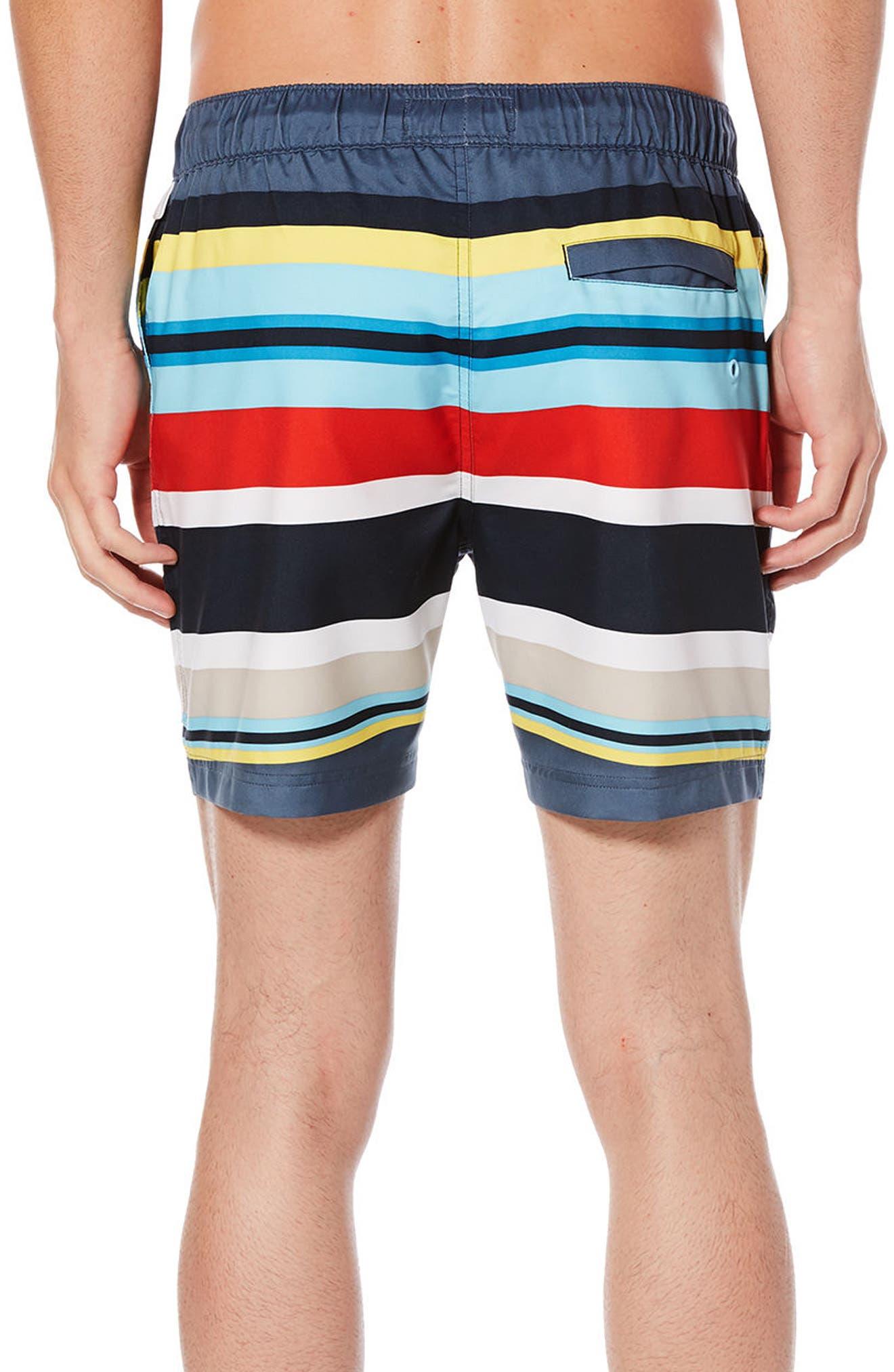 ORIGINAL PENGUIN,                             Large Stripe Swim Trunks,                             Alternate thumbnail 2, color,                             413