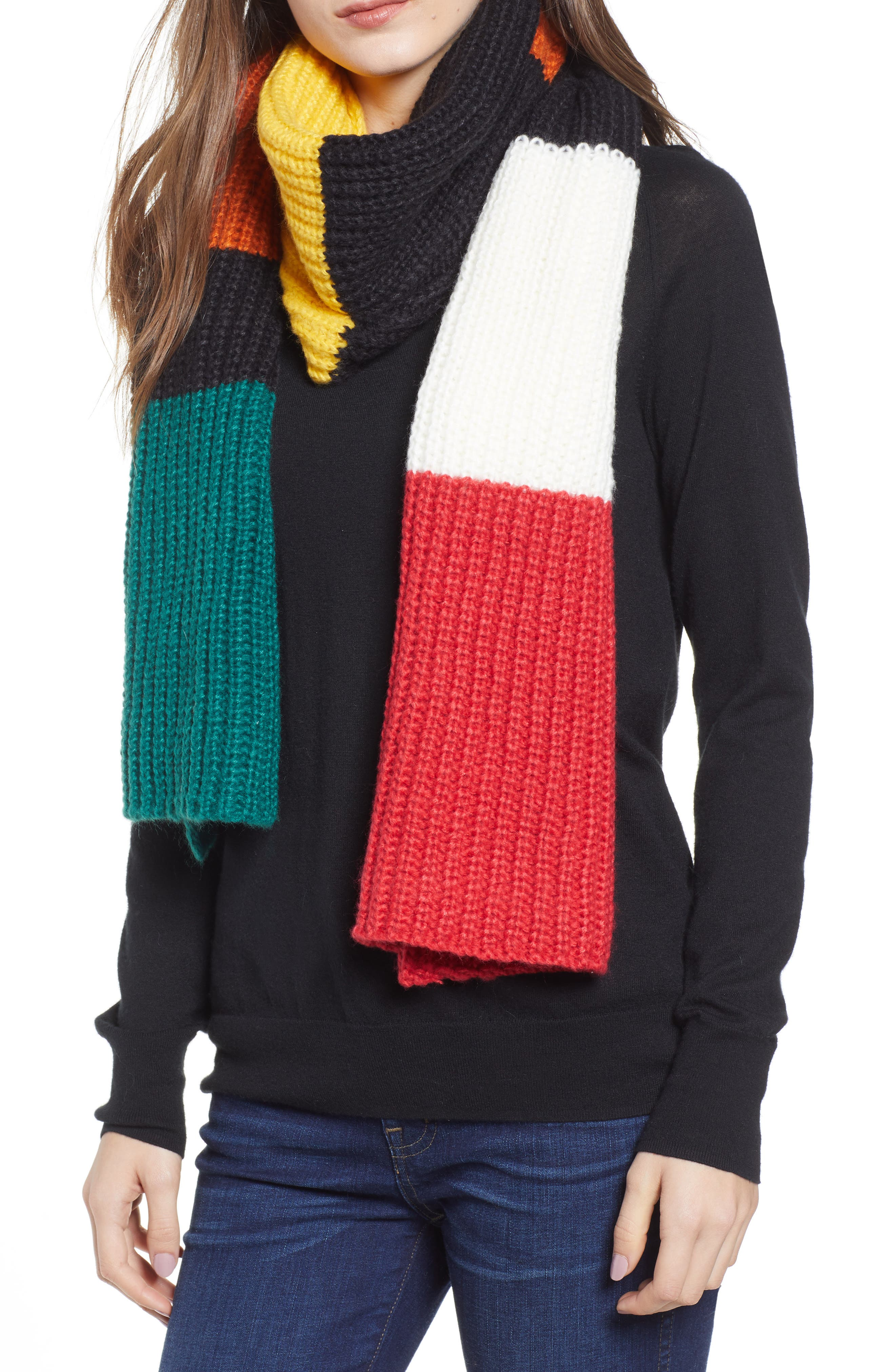 Colorblock Chunky Knit Scarf,                         Main,                         color, BLACK COMBO