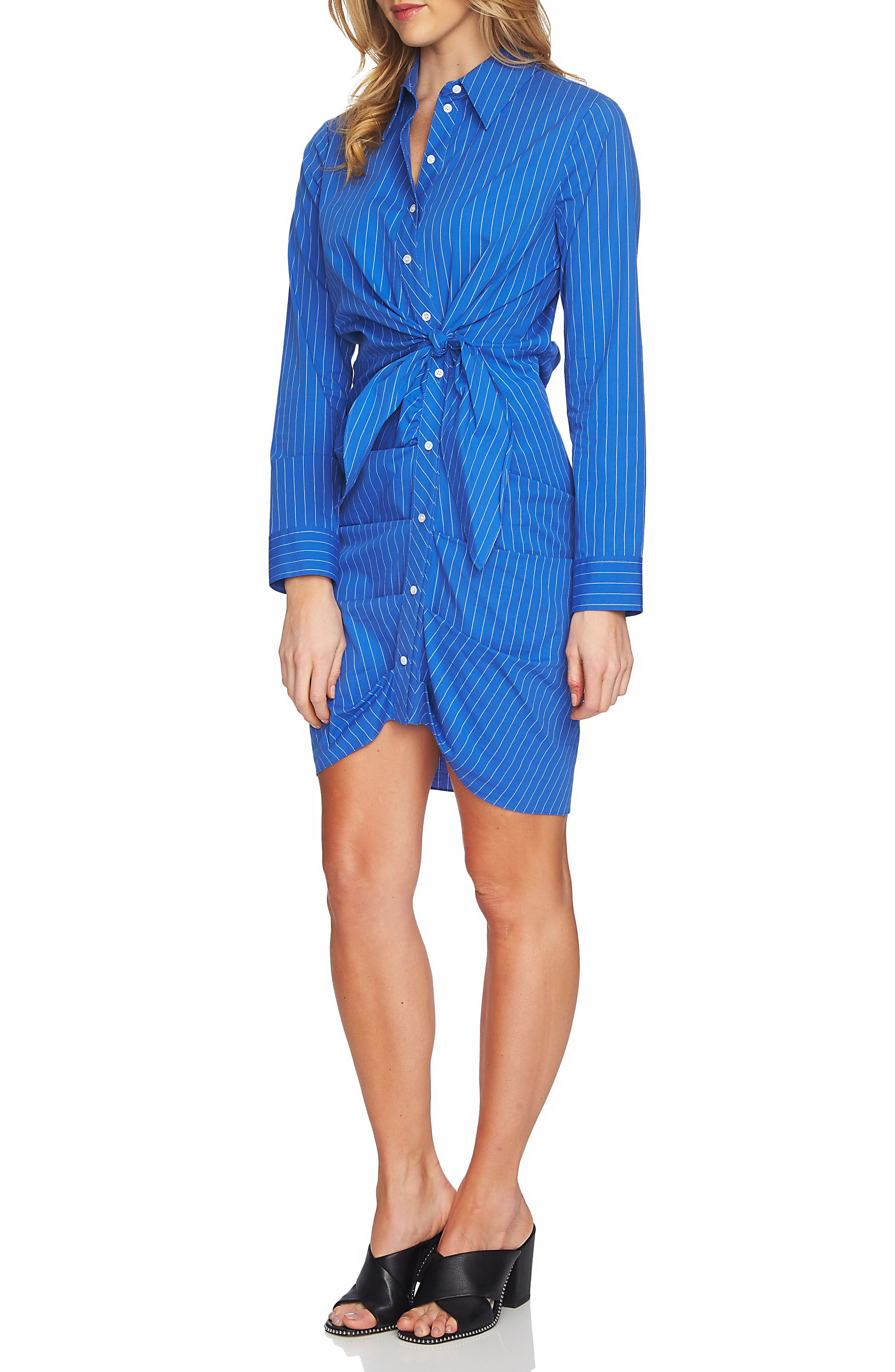 Ruched Button Down Shirtdress,                             Alternate thumbnail 3, color,
