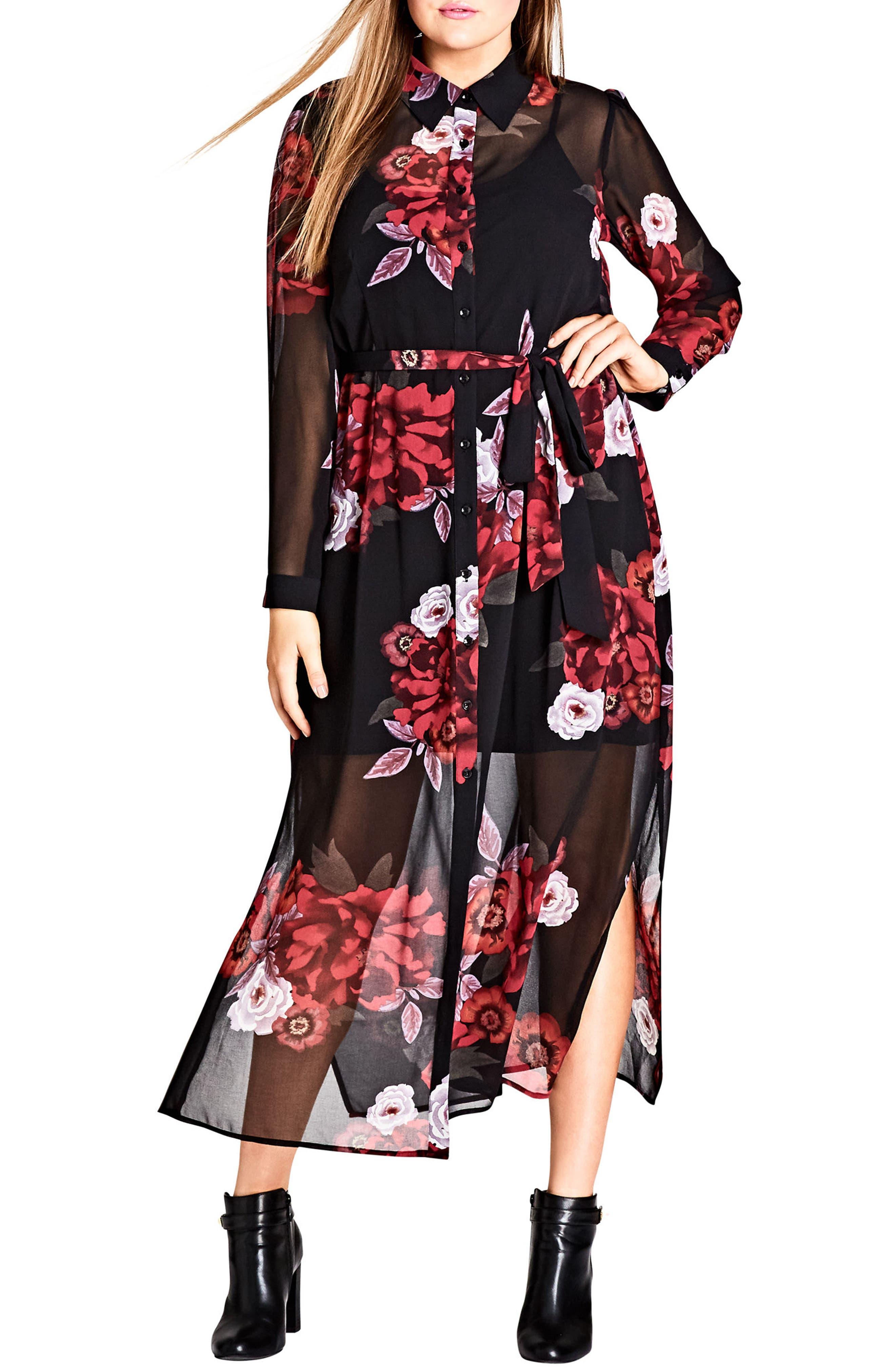 Rose Print Maxi Dress,                         Main,                         color, RICH ROSE