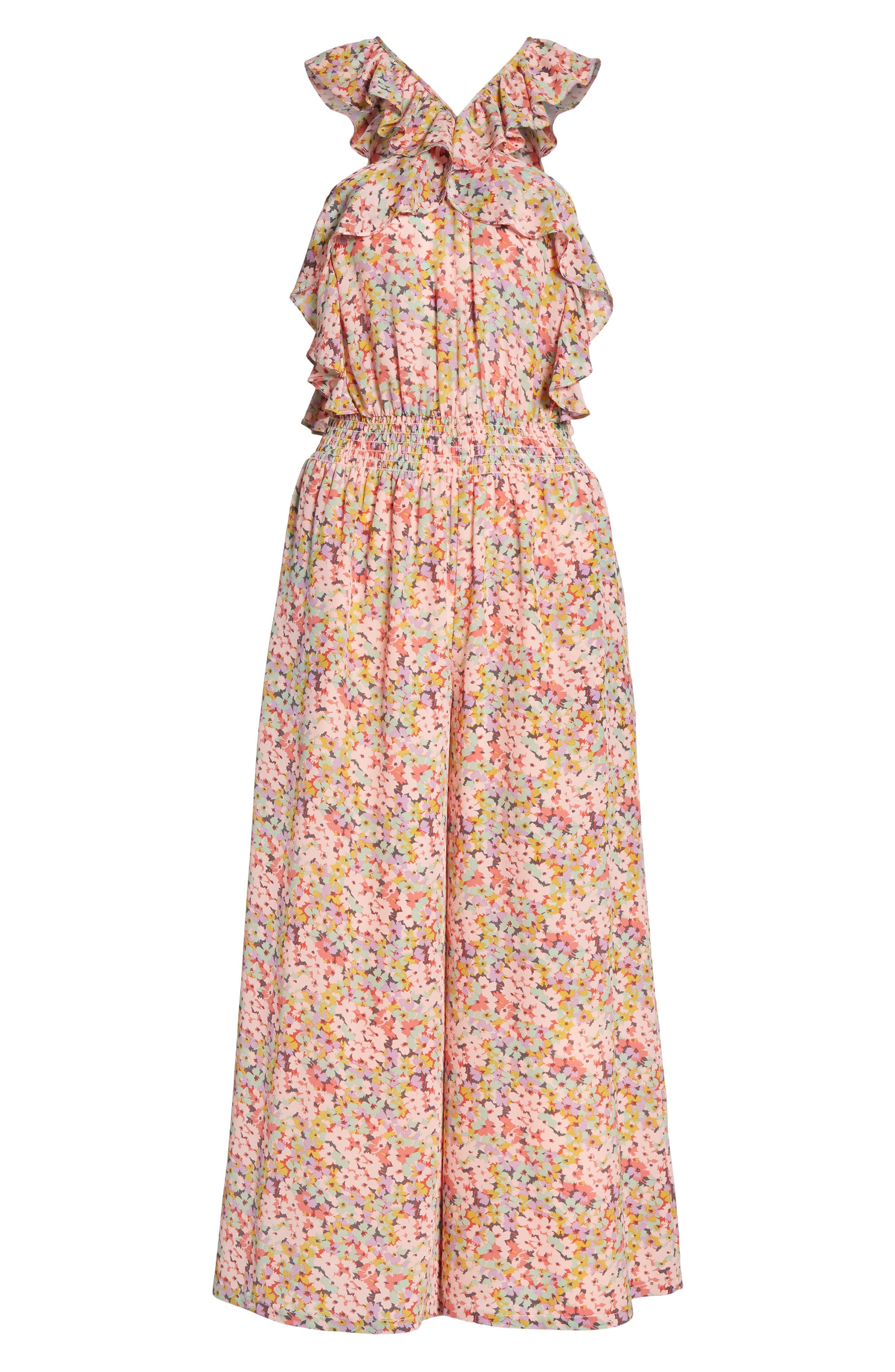 Margo Halter Top Floral Silk Jumpsuit,                             Alternate thumbnail 6, color,                             686