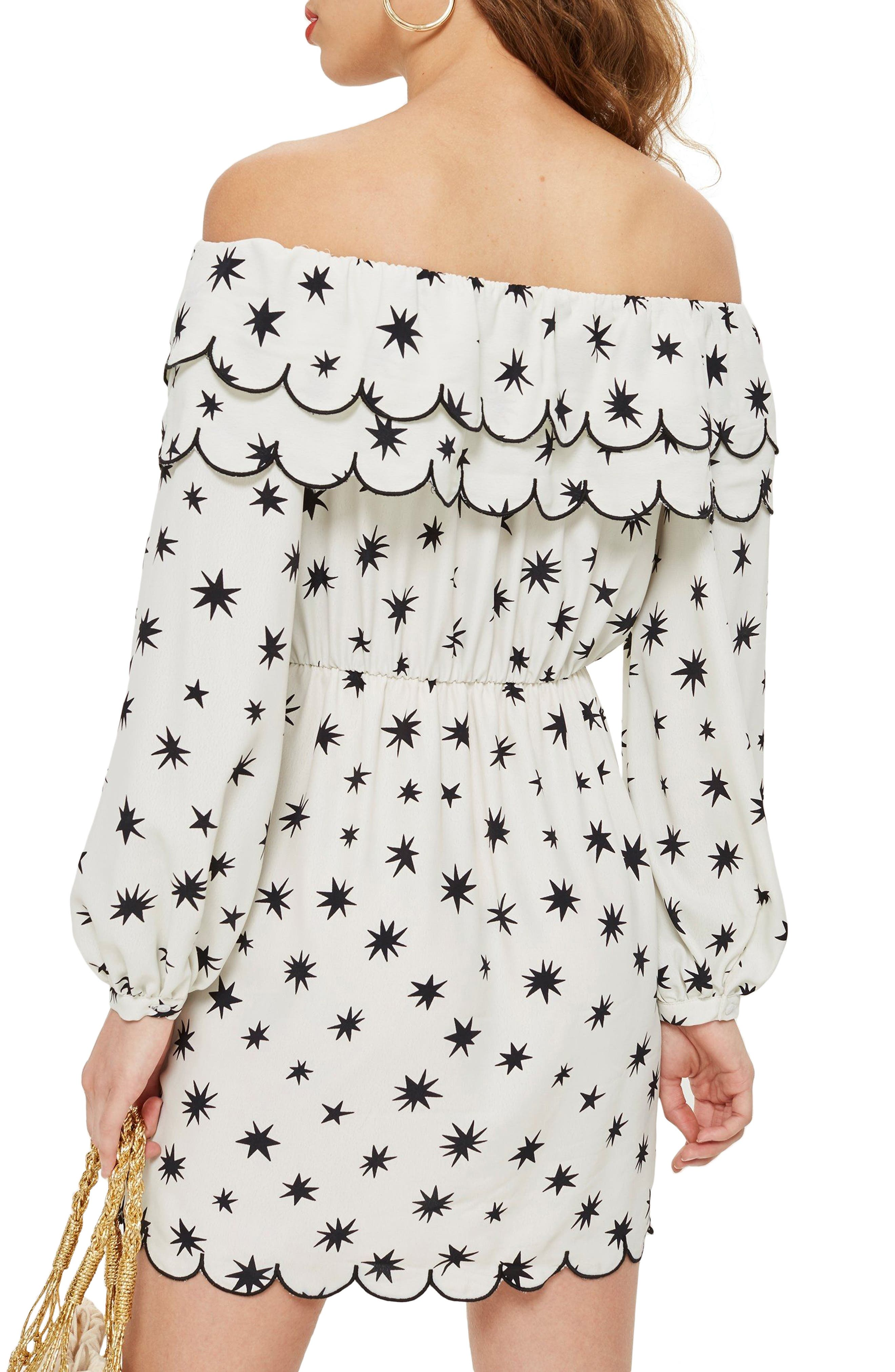 Scallop Star Off the Shoulder Dress,                             Alternate thumbnail 2, color,                             100