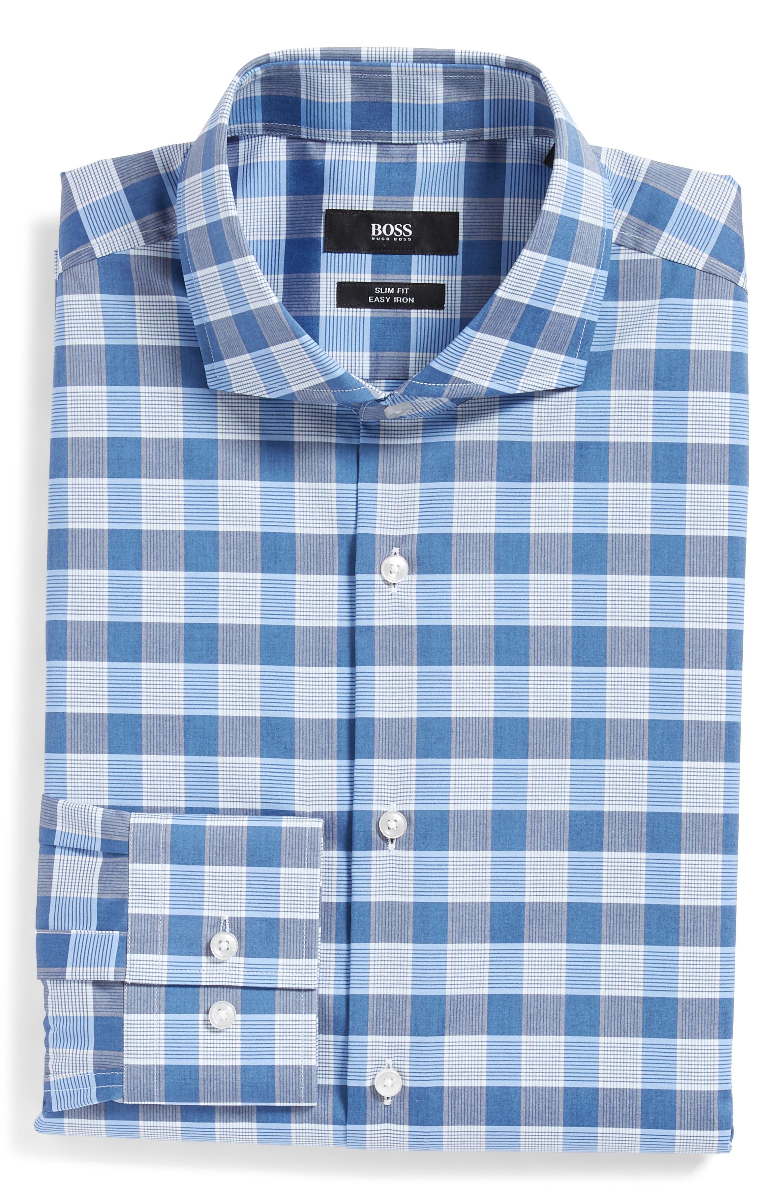 Jason Slim Fit Plaid Dress Shirt,                             Alternate thumbnail 5, color,                             BLUE