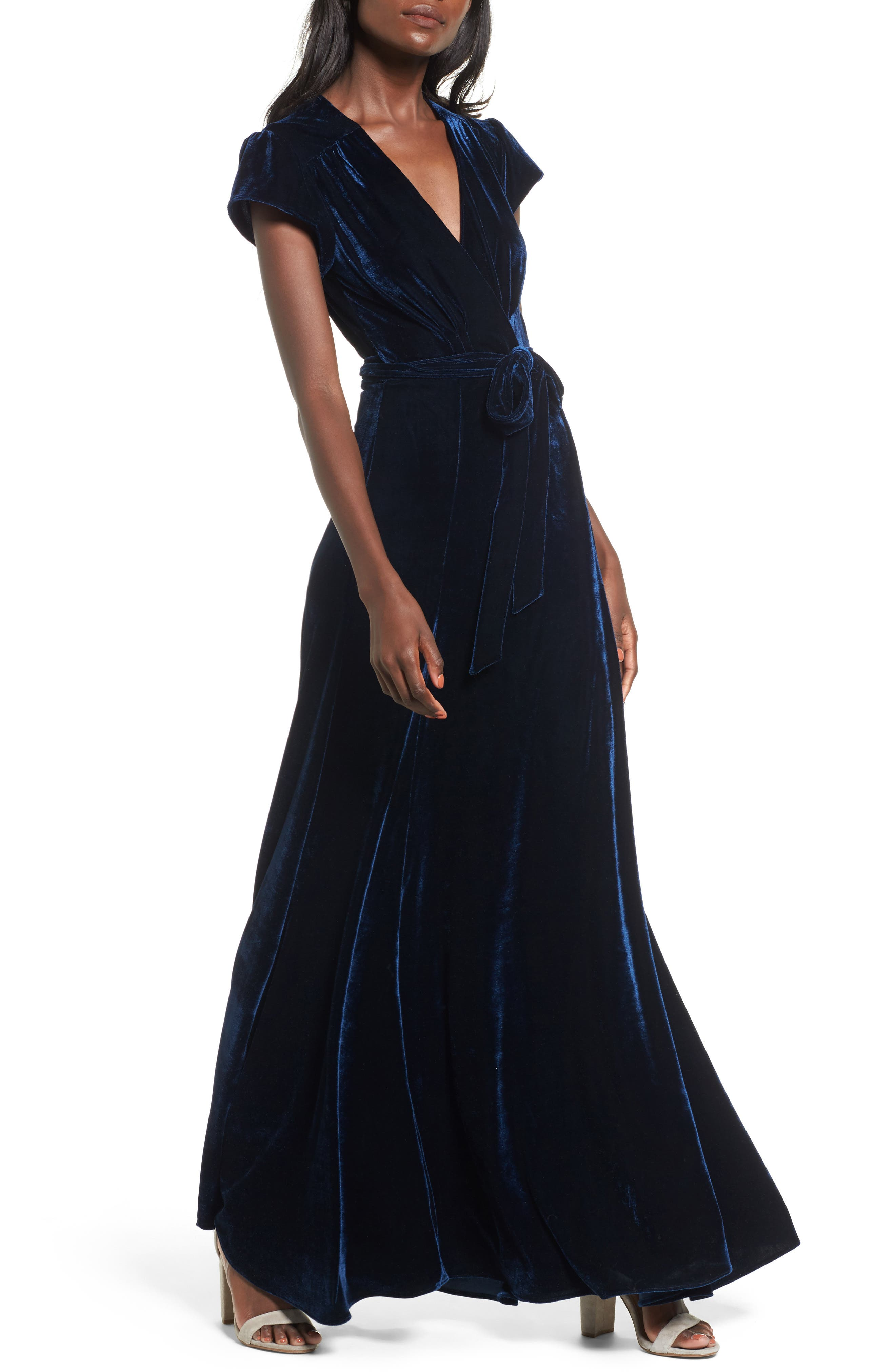 Sid Velvet Wrap Maxi Dress,                             Main thumbnail 1, color,                             400