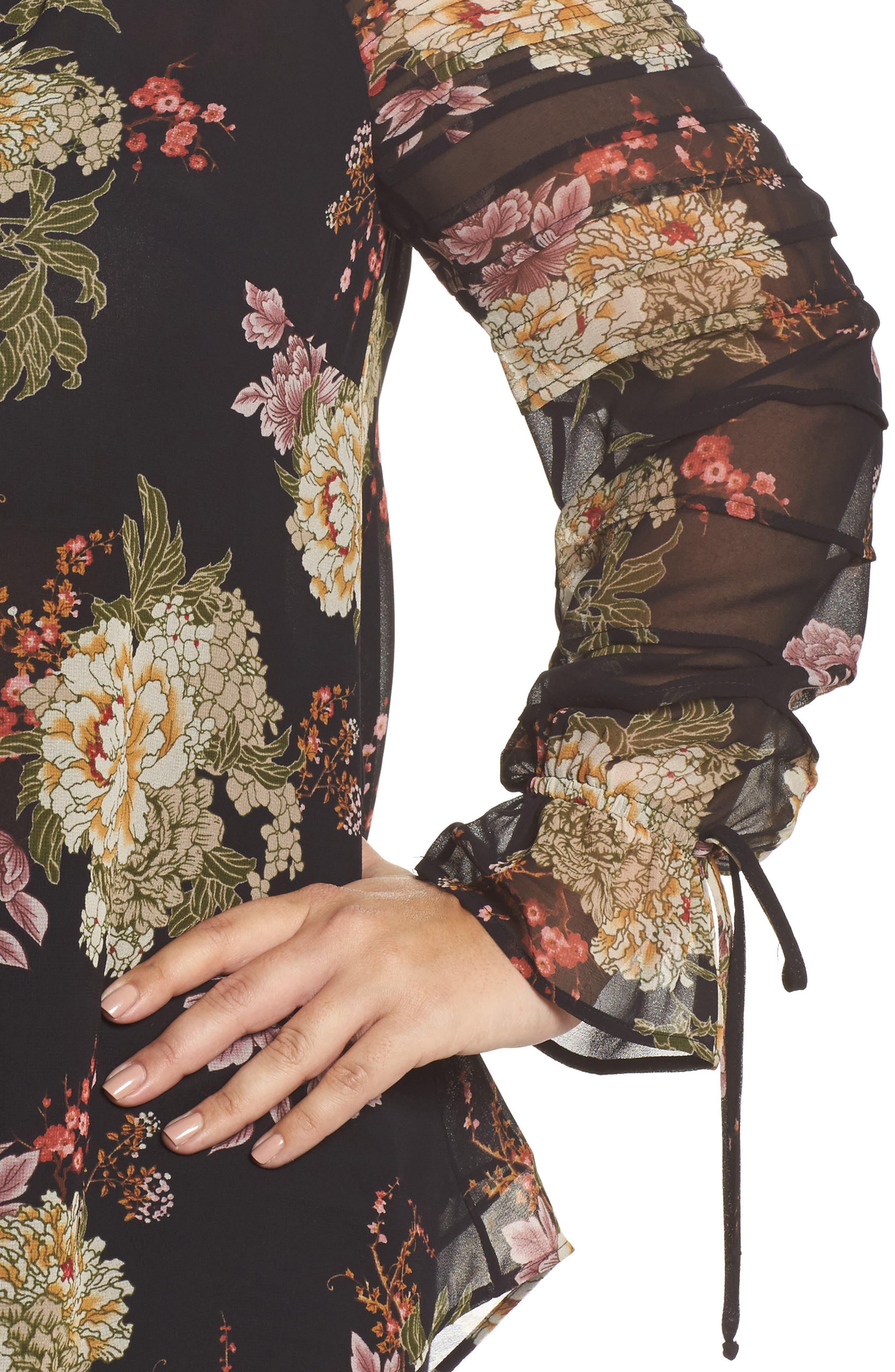 Floral Georgette Split Neck Blouse,                             Alternate thumbnail 4, color,
