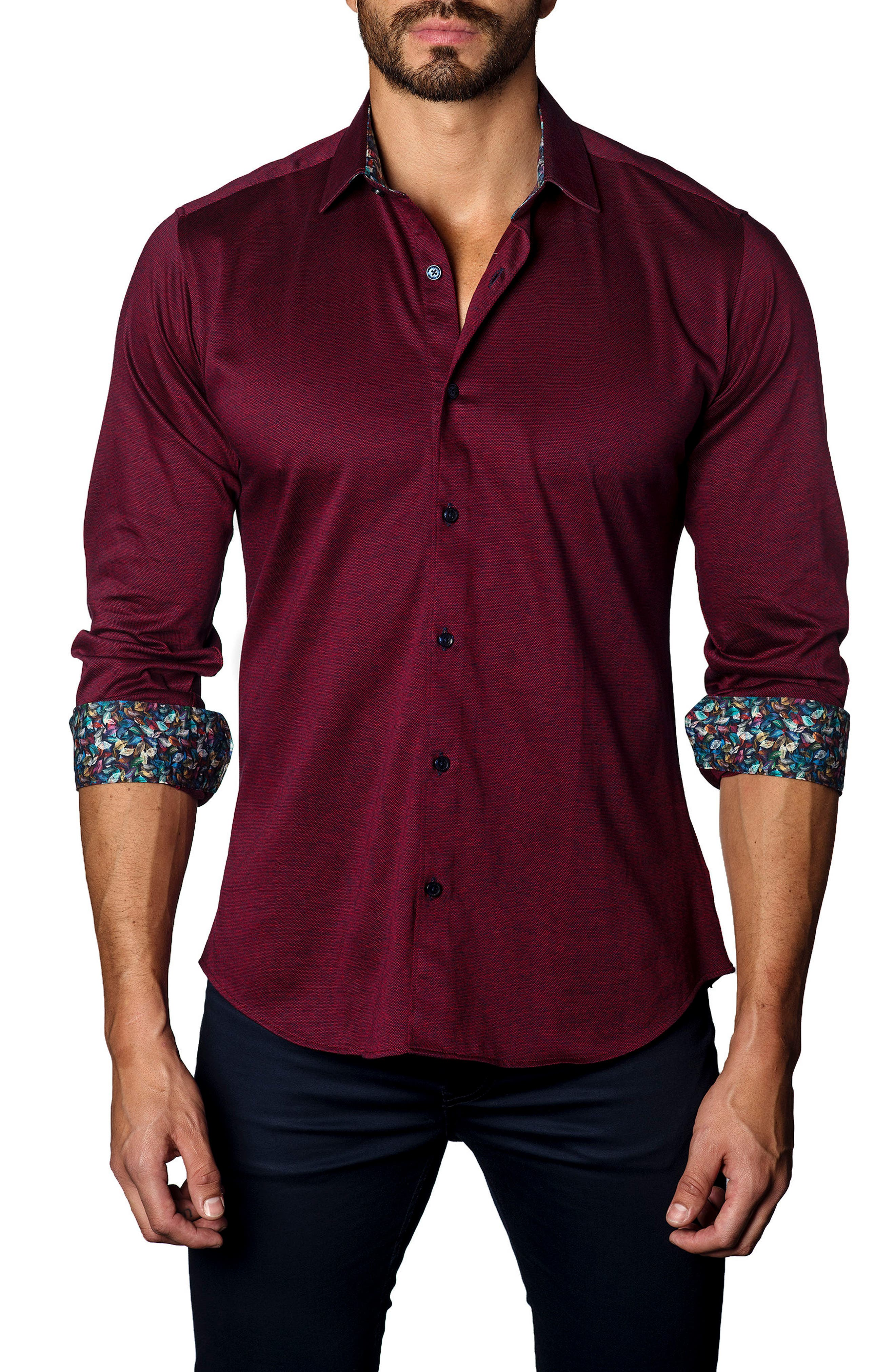 Trim Fit Jewel Tone Sport Shirt,                             Main thumbnail 1, color,                             601