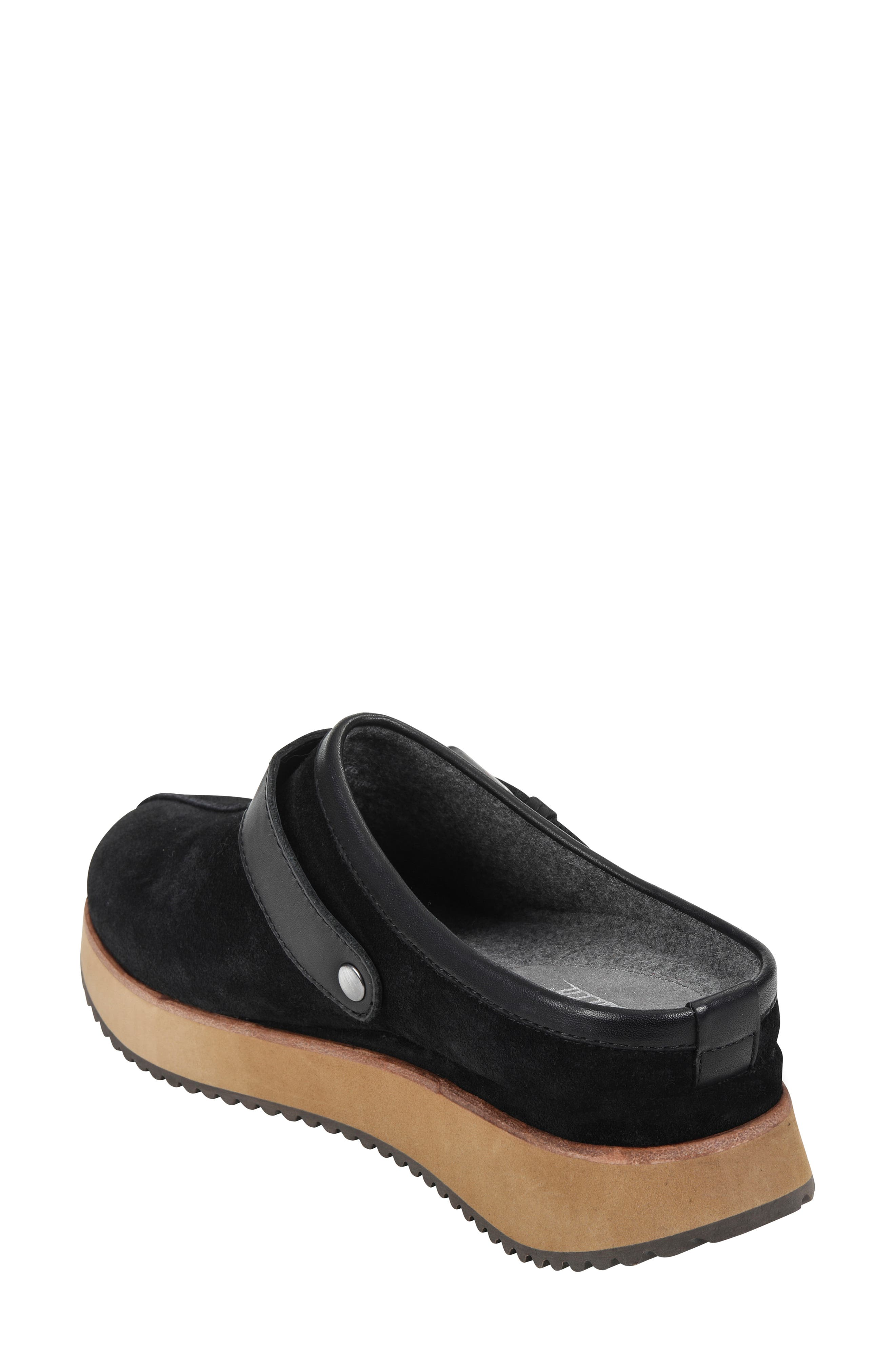 Lyra Buckle Clog,                             Alternate thumbnail 2, color,                             BLACK SUEDE