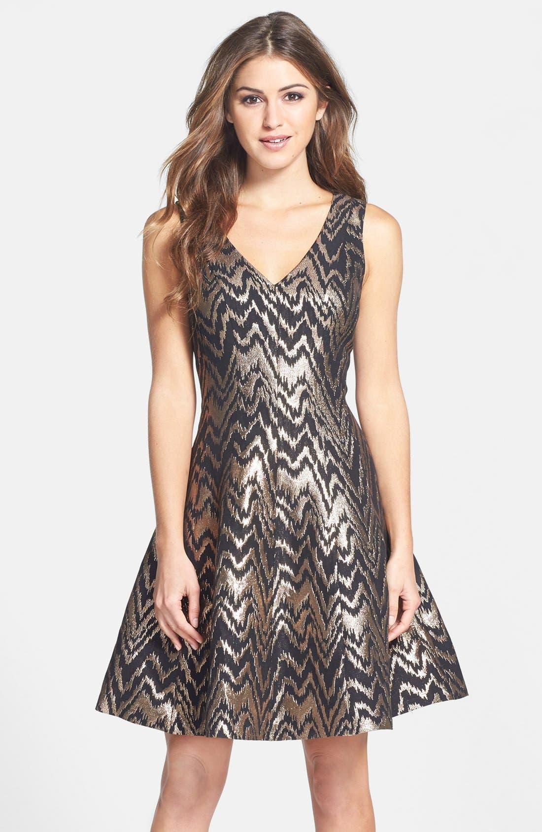 VINCE CAMUTO Metallic Jacquard Fit & Flare Dress, Main, color, 226