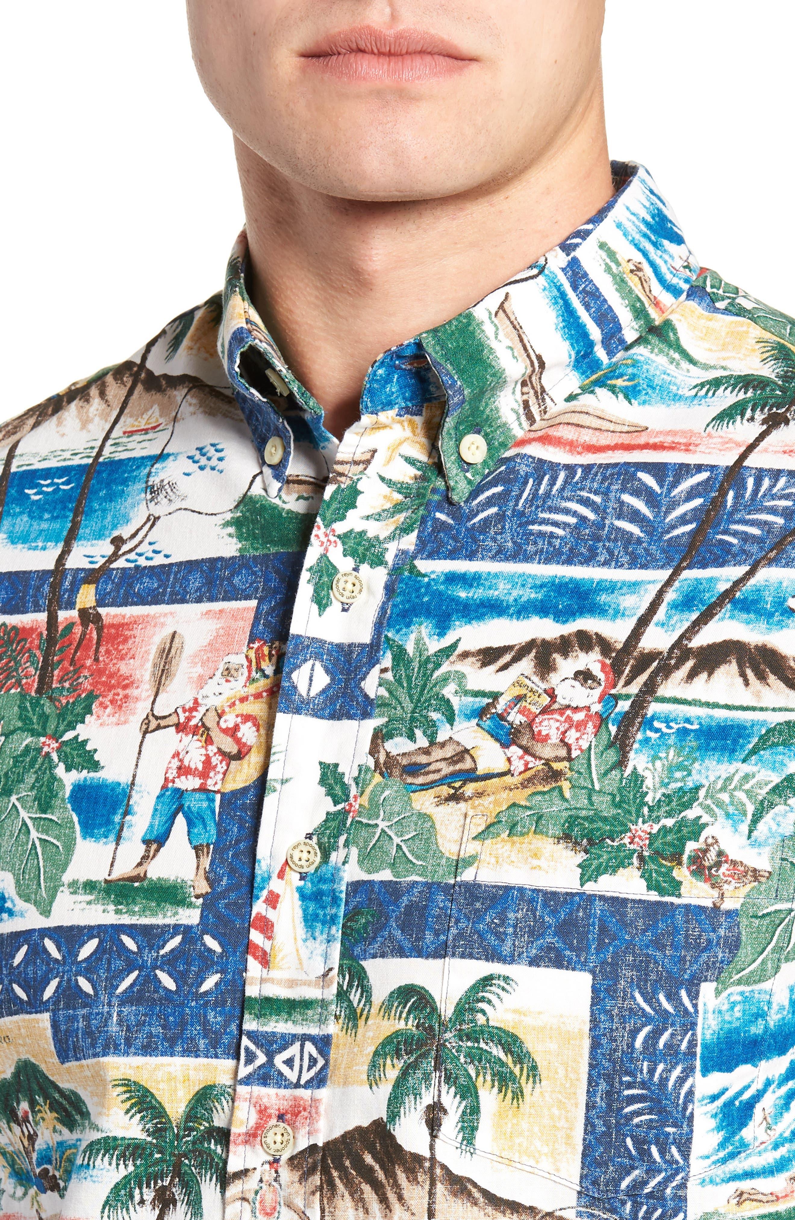 Hawaiian Christmas 2018 Tailored Fit Sport Shirt,                             Alternate thumbnail 2, color,                             ROYAL