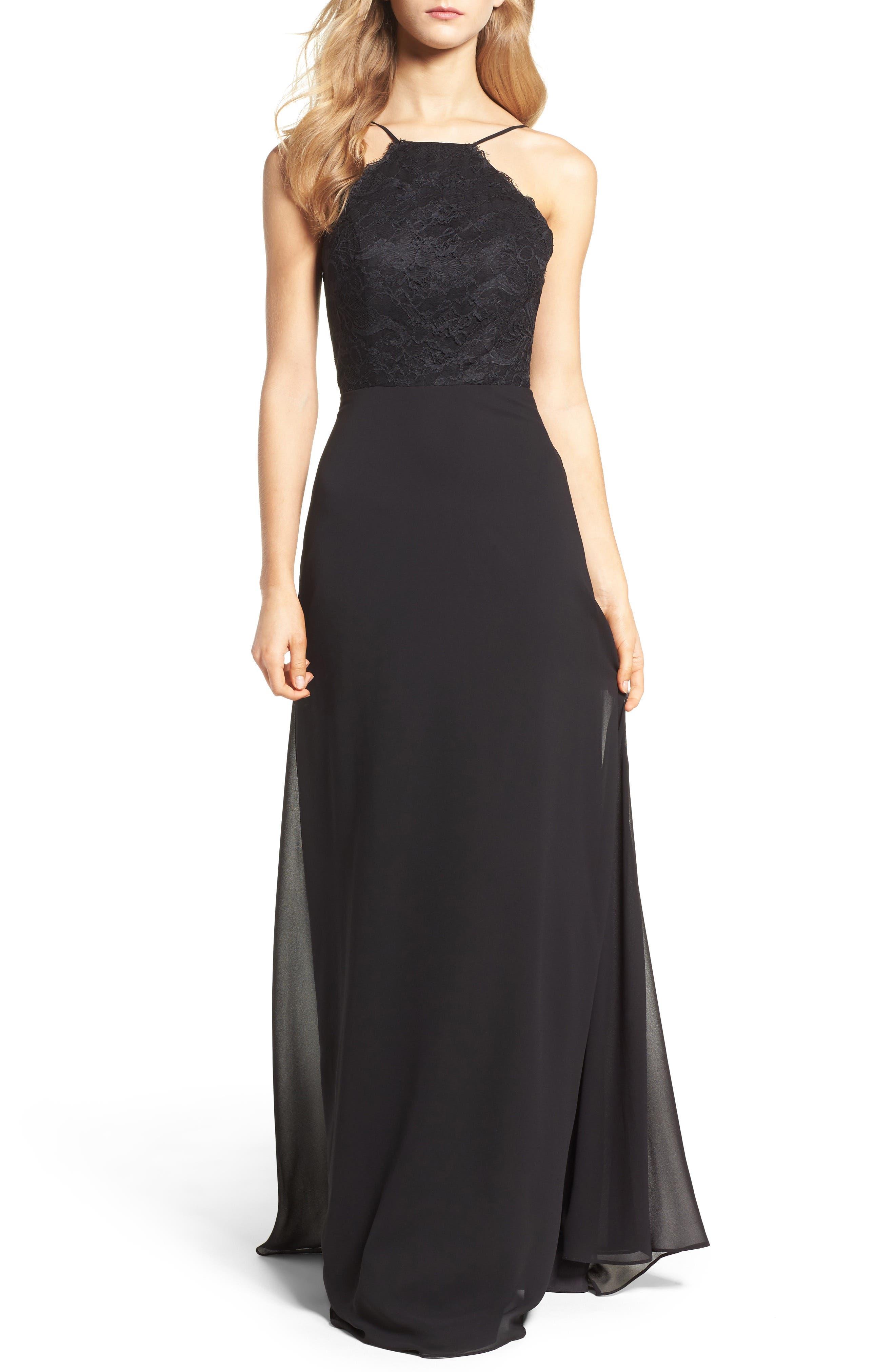 Lace Halter Gown,                             Main thumbnail 1, color,                             BLACK